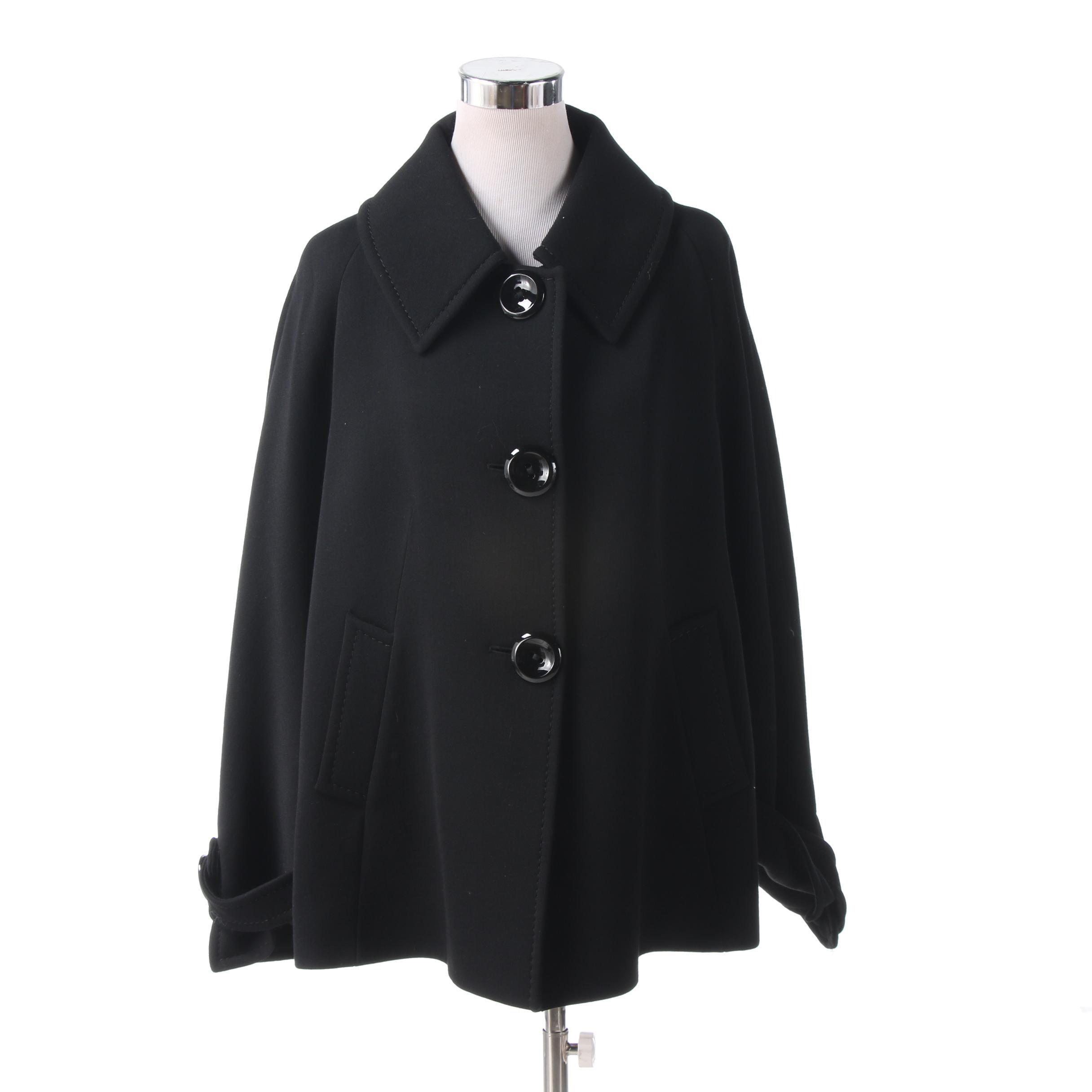 Cinzia Rocca Black Wool Cropped Swing Coat
