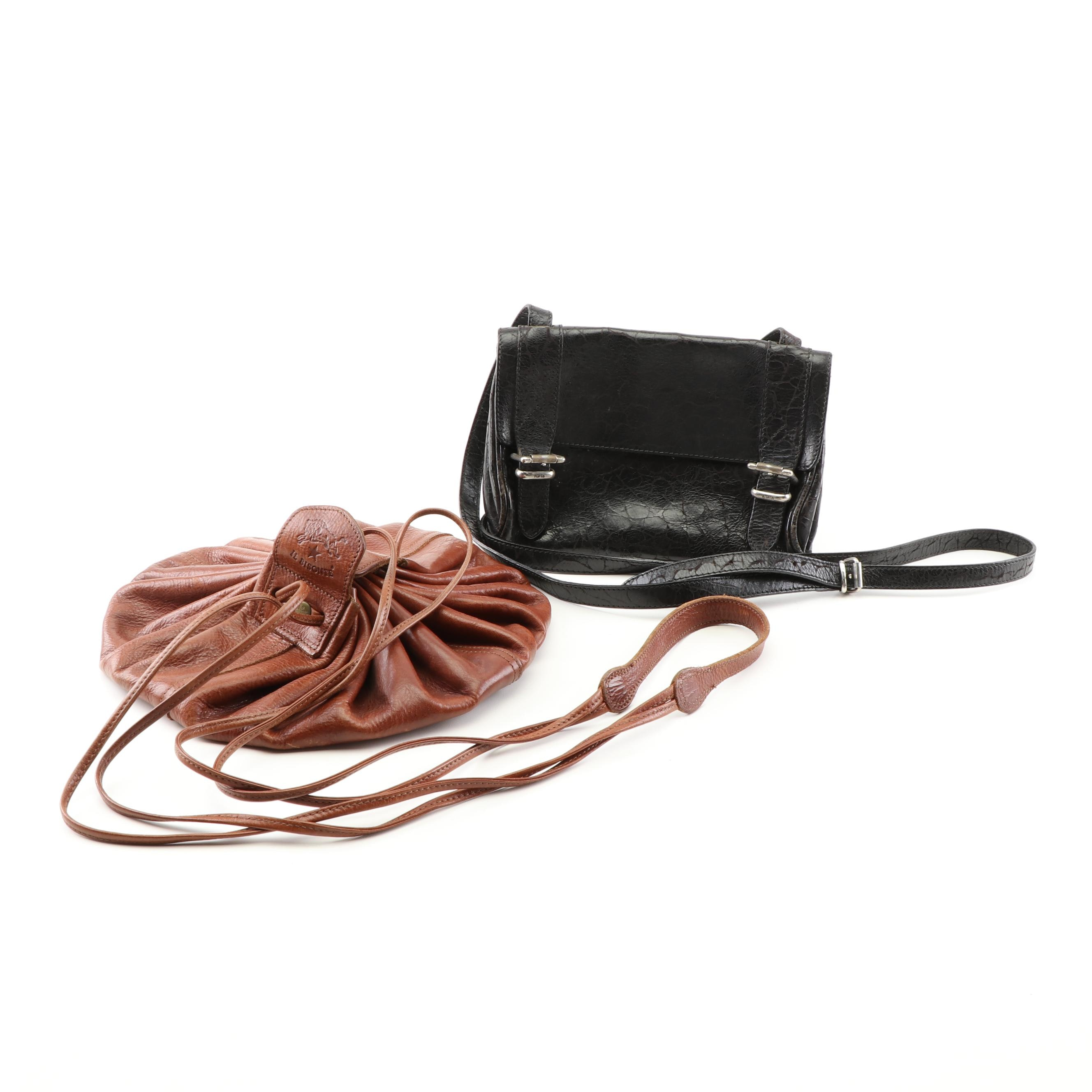Furla Black Embossed Leather Crossbody Bag and Il Bisonte Cowhide Leather Pouch