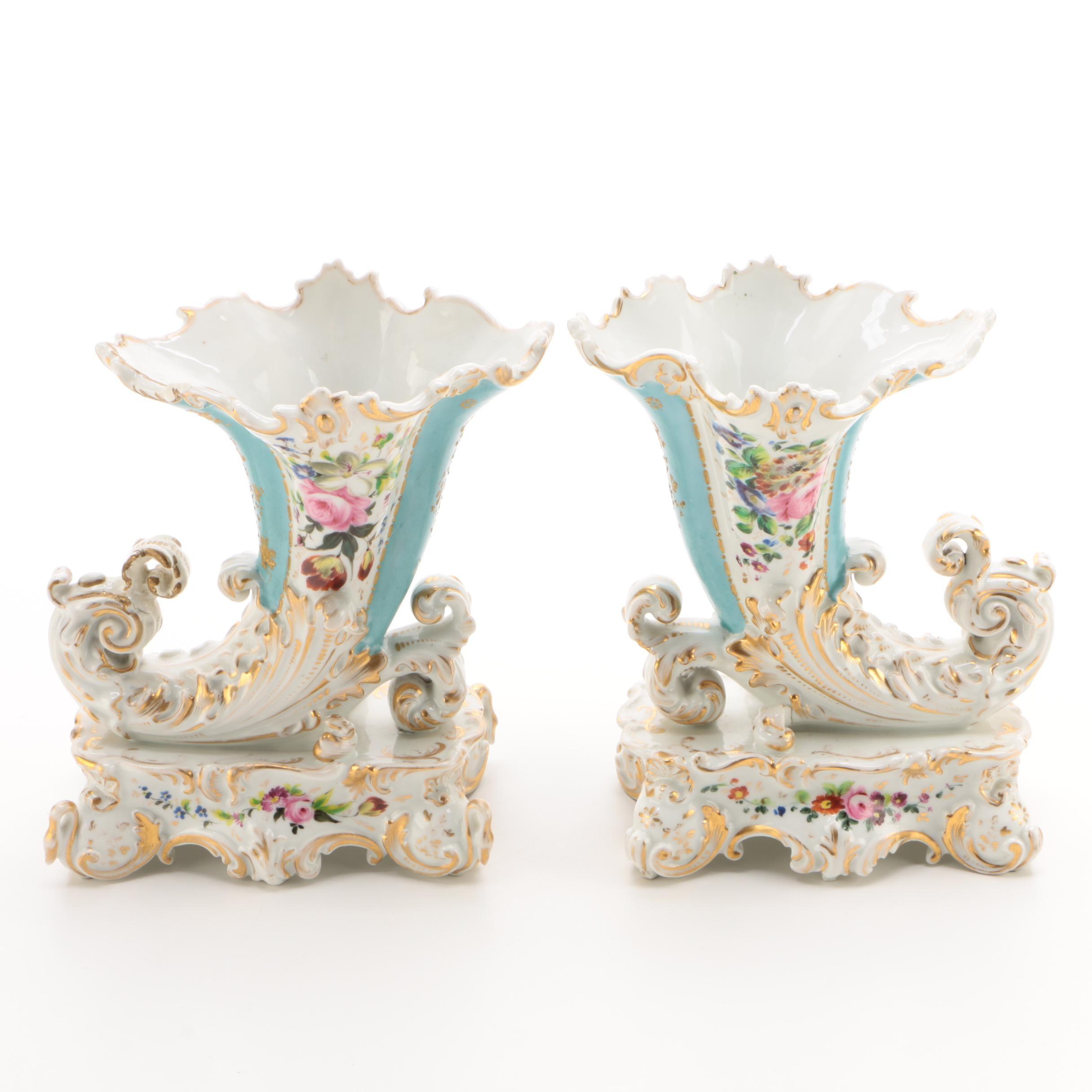 Jacob Petit Porcelain Cornucopia Vases, Circa 1830–1860
