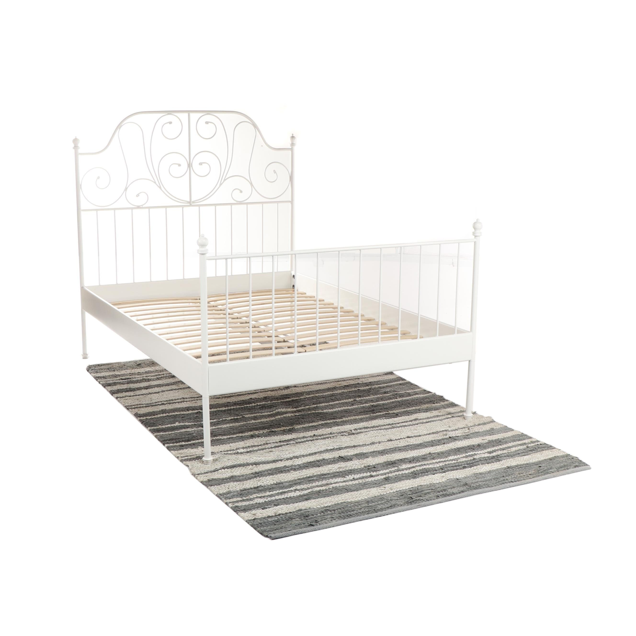 """IKEA """"Leirvik"""" White Metal Bed Frame with Gray Leather Rag Rug"""