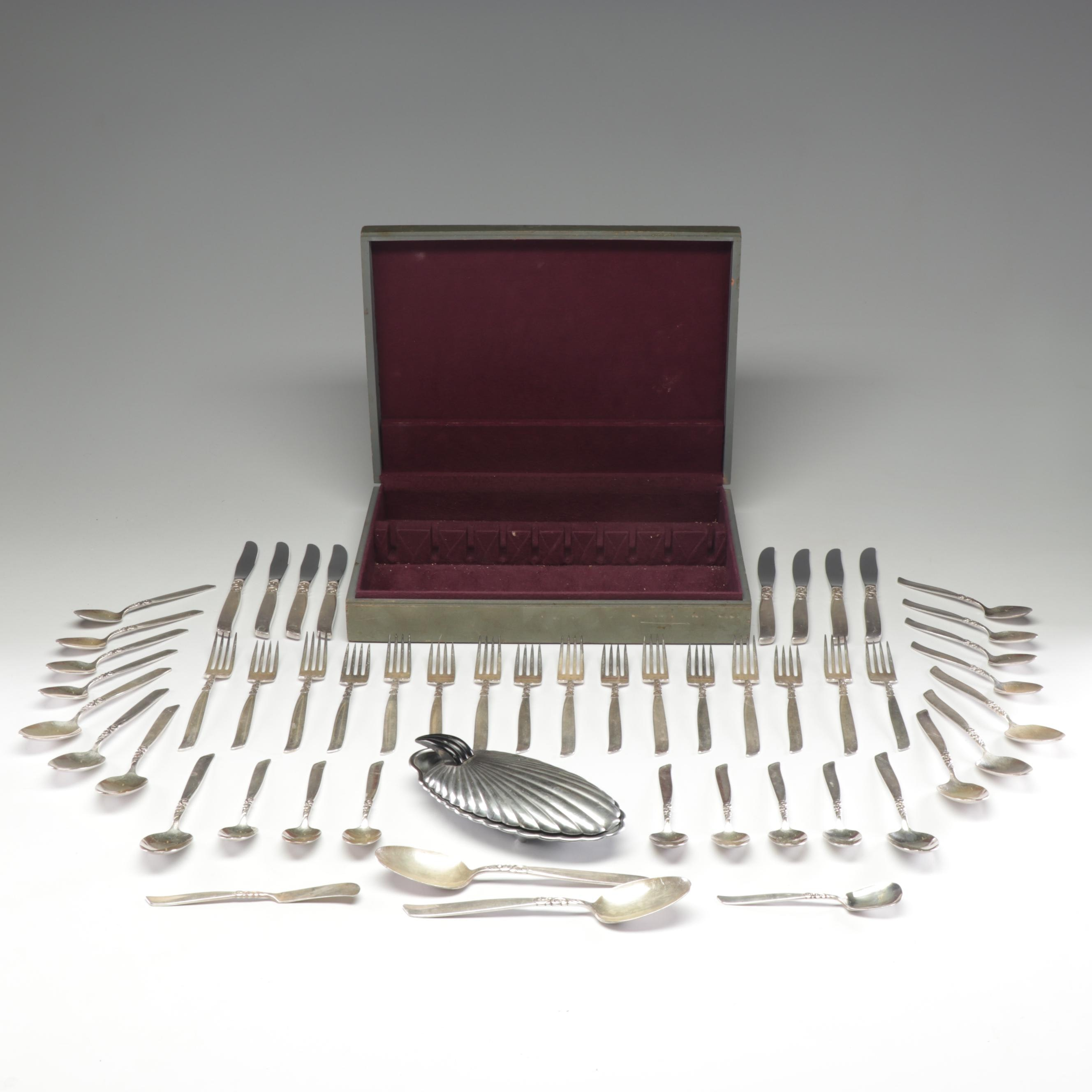 "Oneida Community ""South Seas"" Silver Plate Flatware and Aluminum Clam Shell Dish"