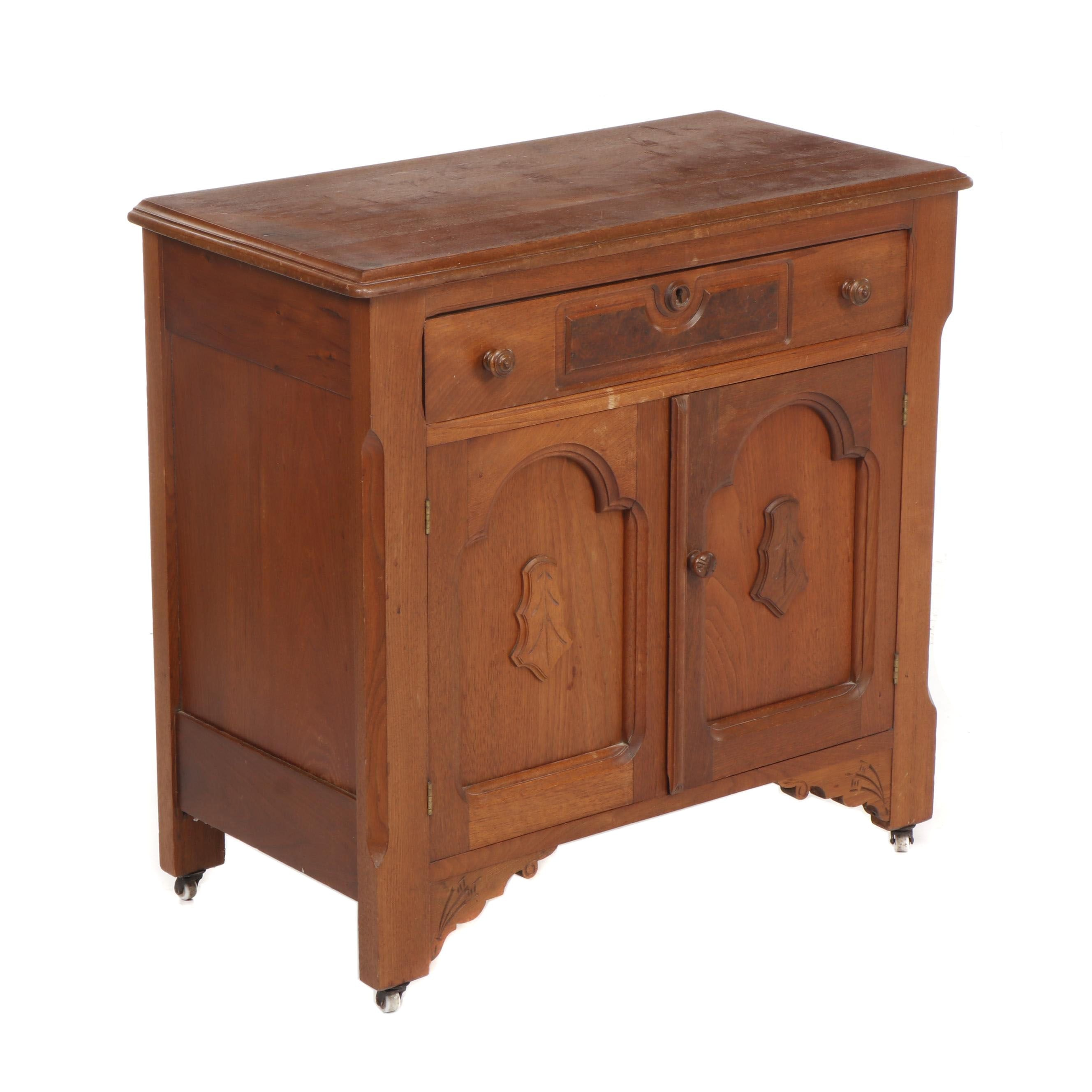 Colonial Style Hardwood Cabinet on Casters