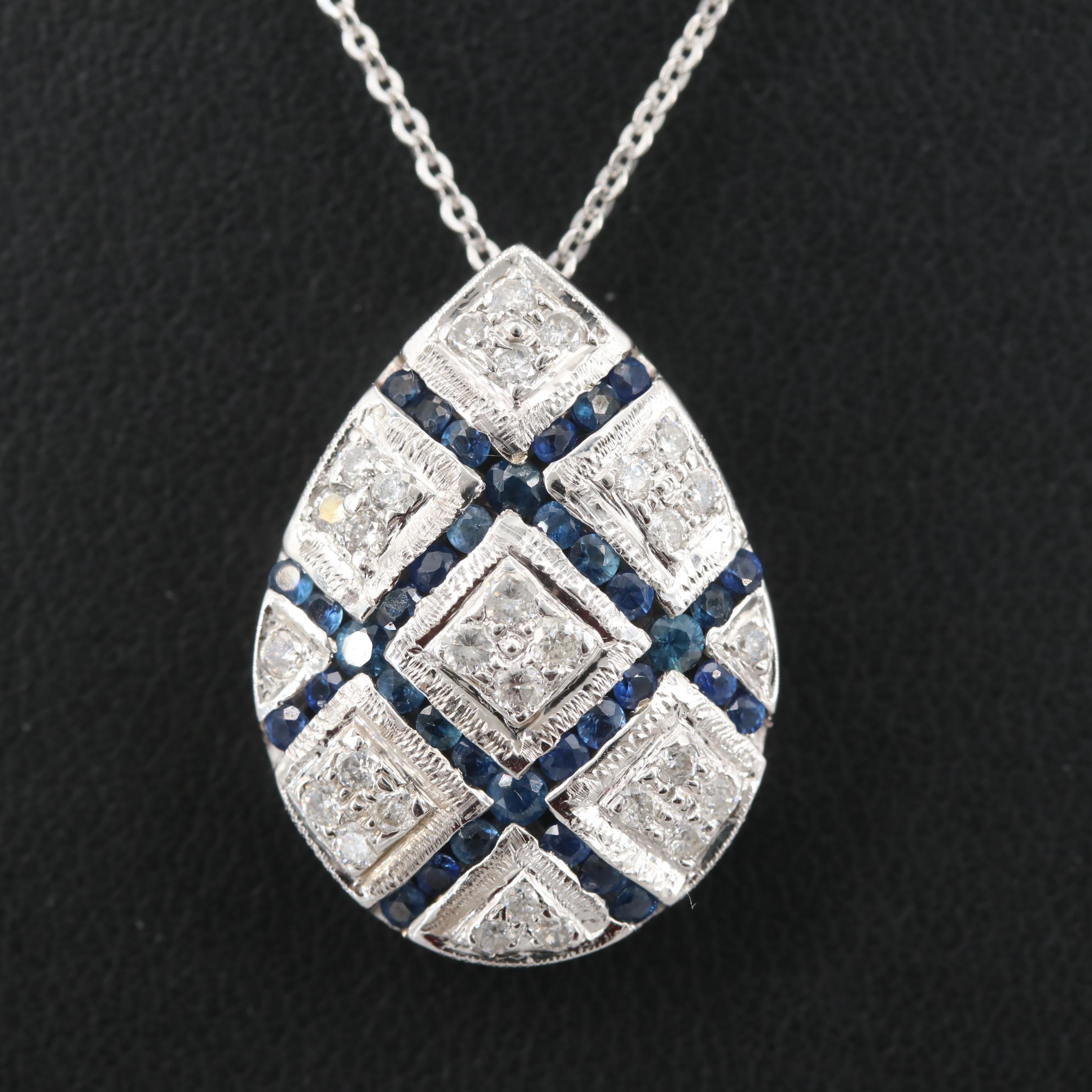 Italian 14K White Gold Diamond and Blue Sapphire Pendant Necklace