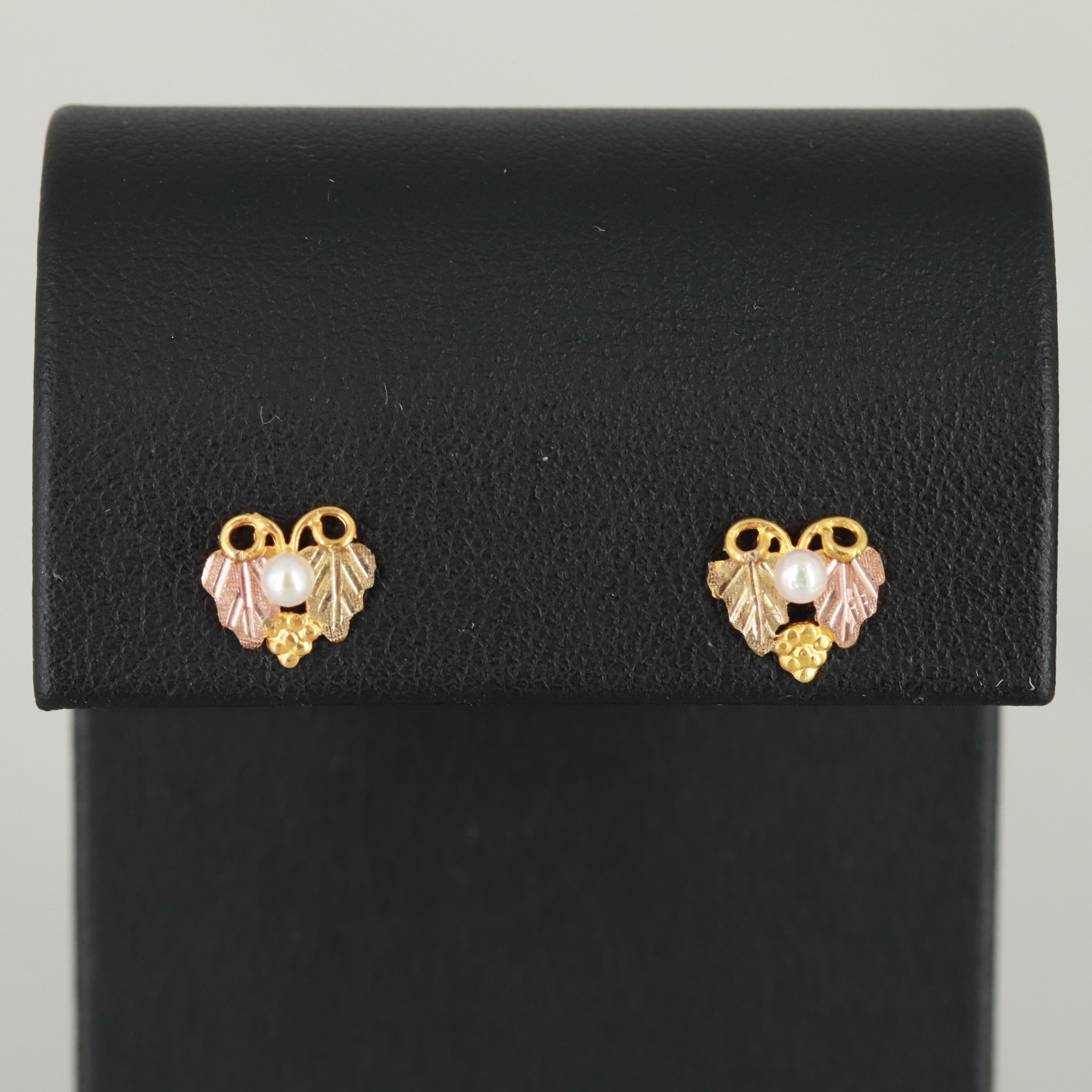 12K and 14K Tri-Color Cultured Pearl Stud Earrings