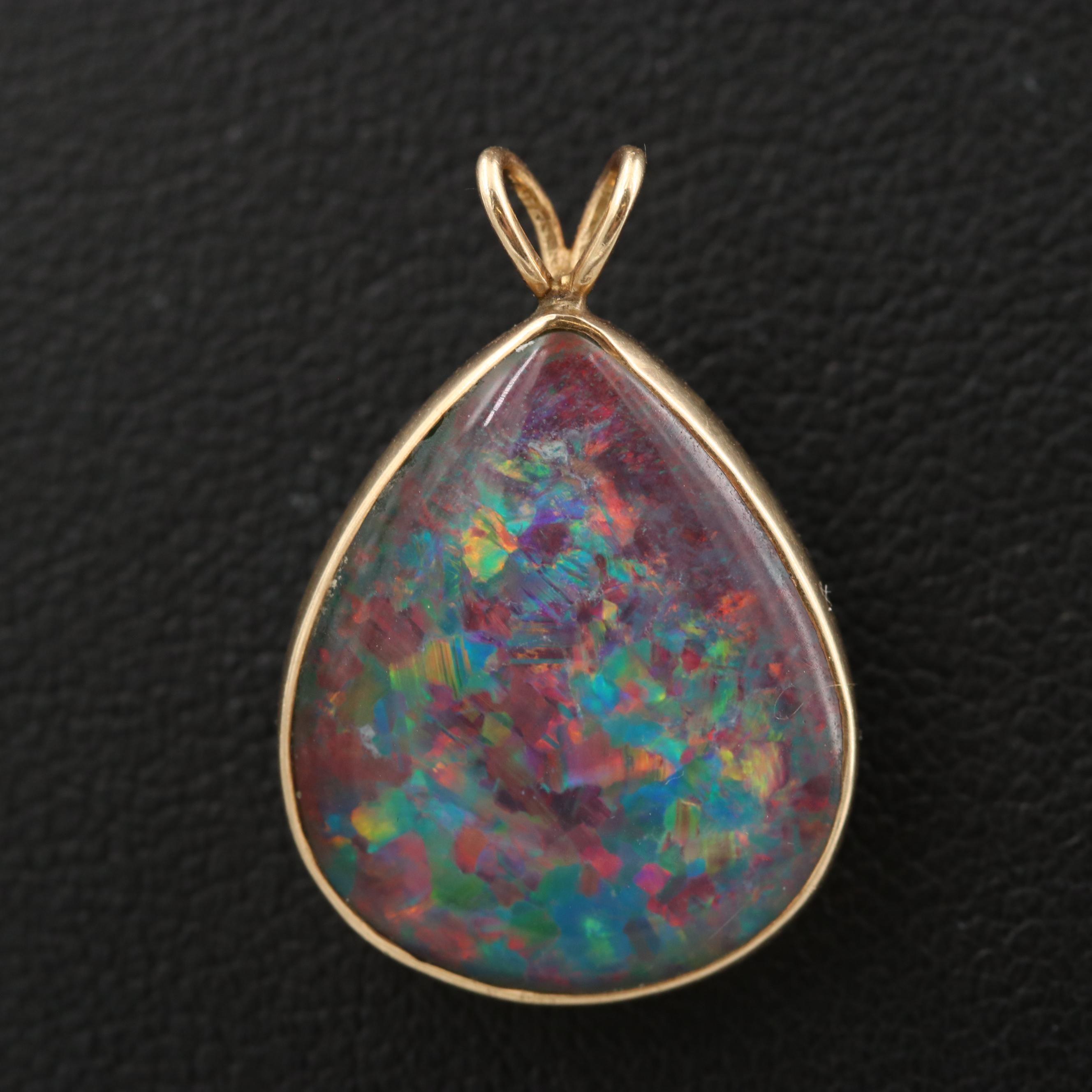 14K Yellow Gold Opal Triplet Pendant