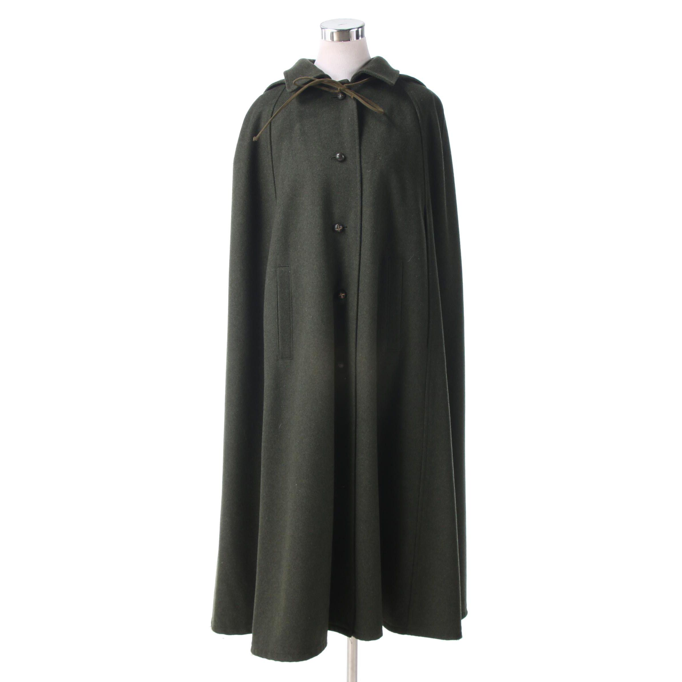 Lodenfrey of Munich, Germany Green Wool Hooded Cape Coat