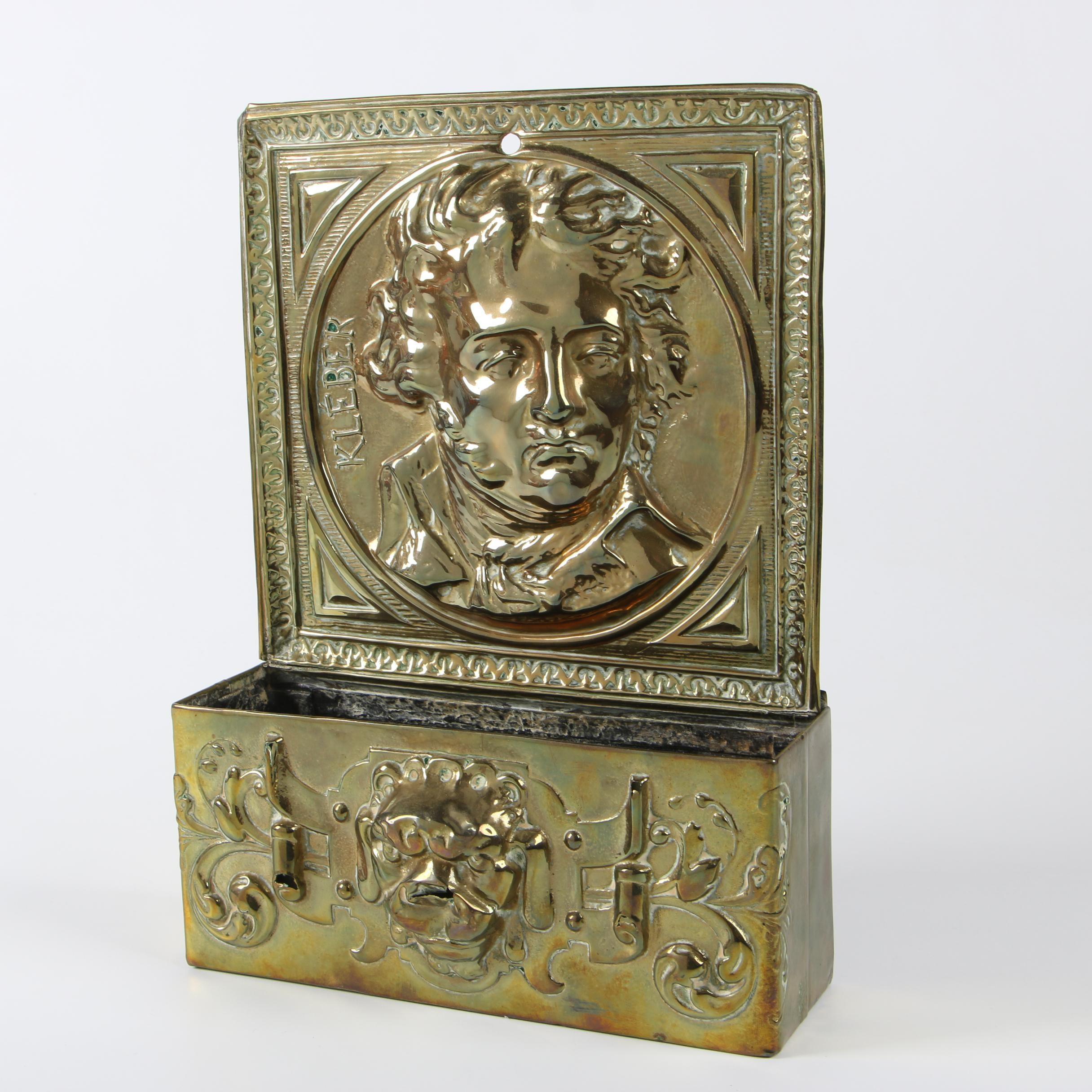 Embossed Brass Letter Holder with Portrait of Jean-Baptiste Kléber