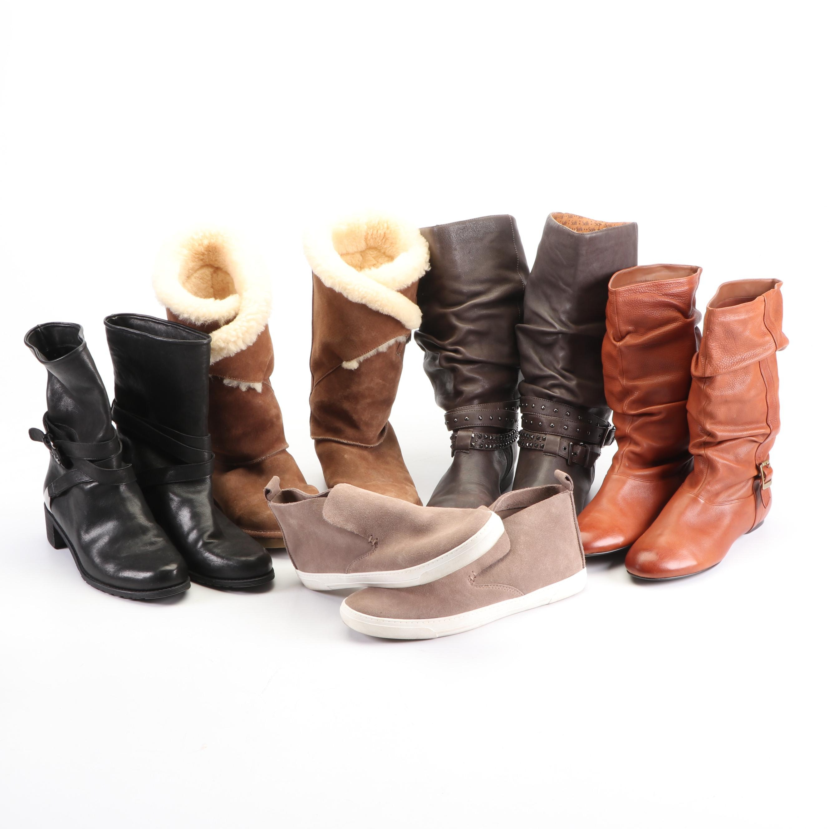 Collection of Women's Leather Boots Including Stuart Weitzman and UGG