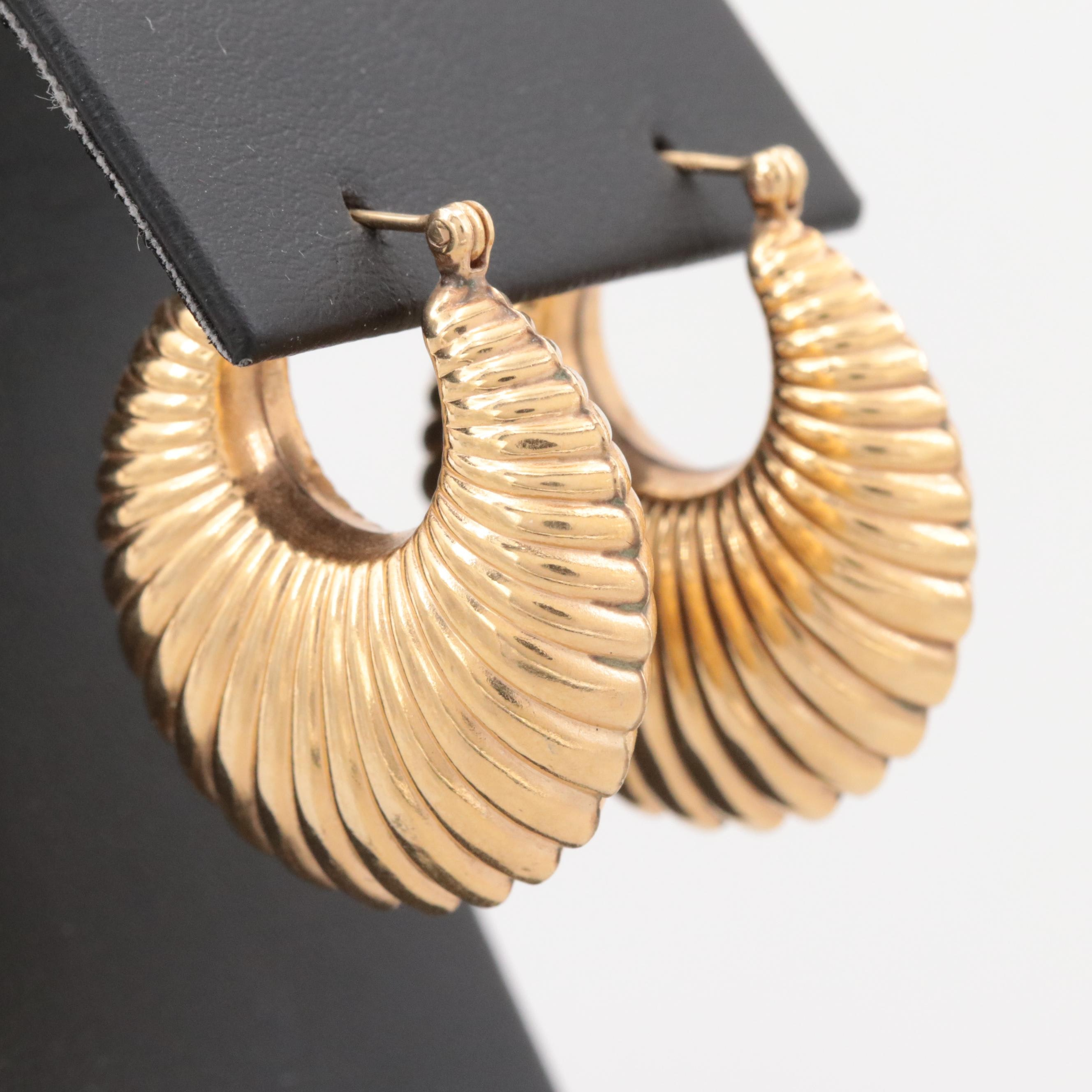 14K Yellow Gold Shrimp Hoop Earrings