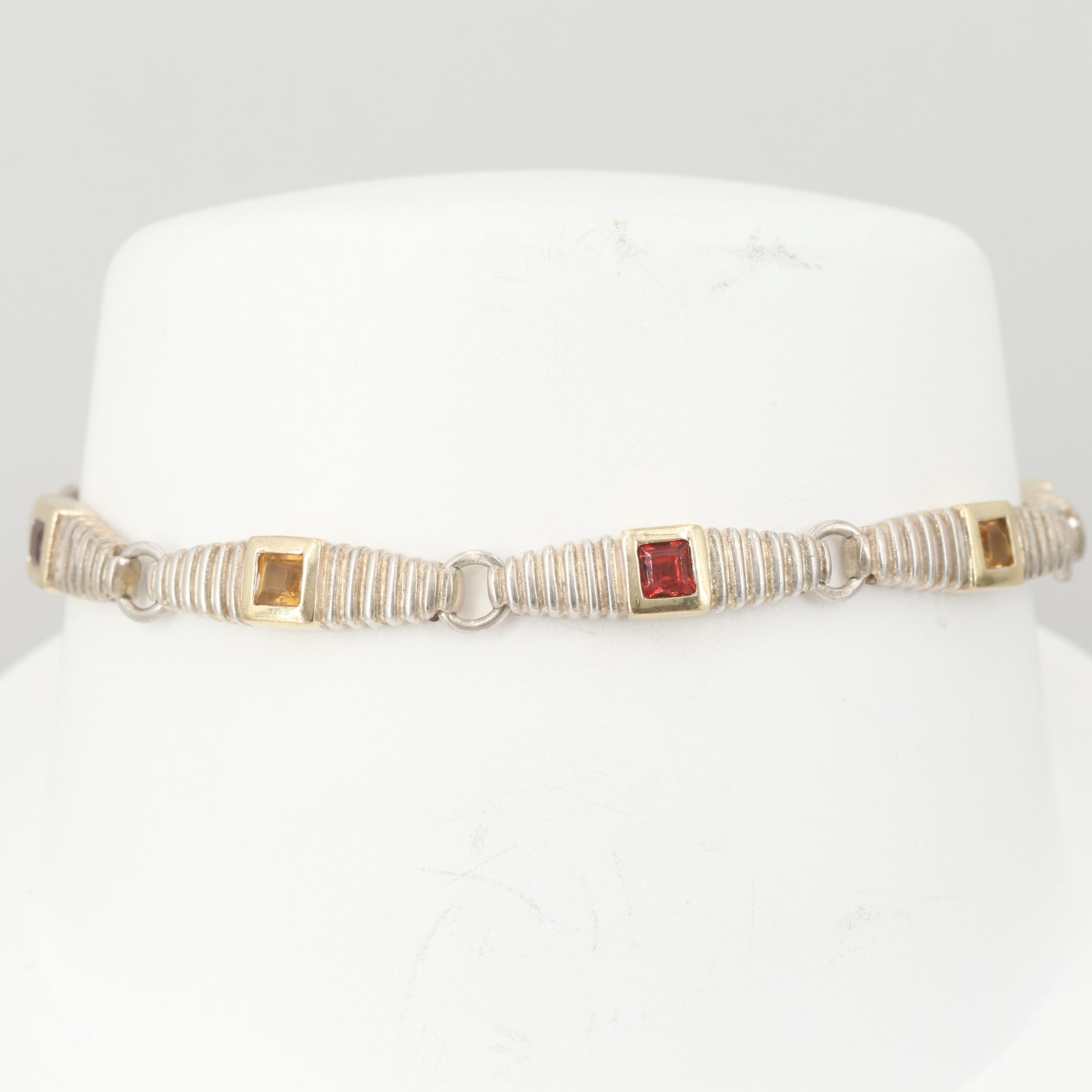 Sterling Silver Citrine and Garnet Link Bracelet