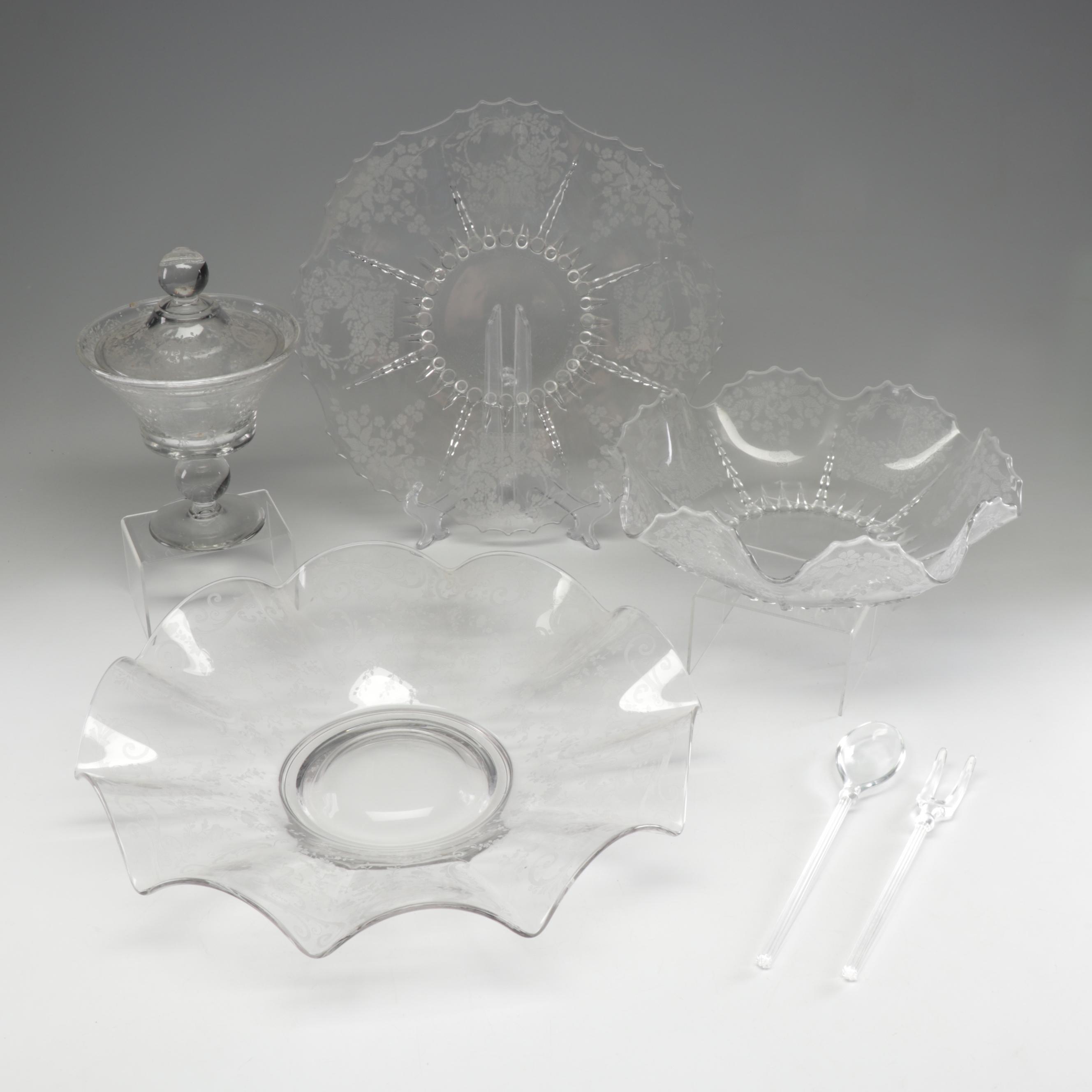 """Depression Glass Serveware Featuring New Martinsville """"Flower Basket"""""""