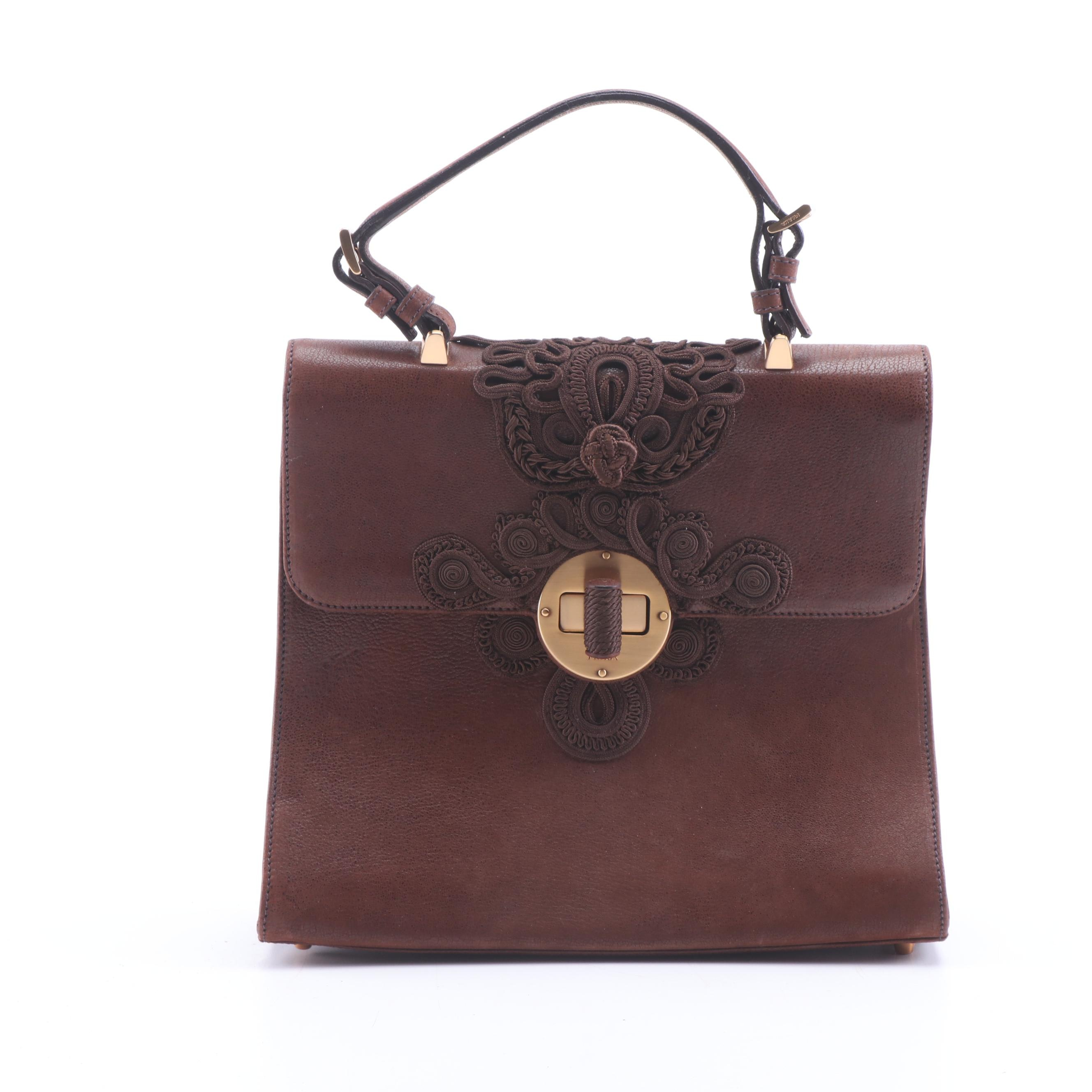 Prada Brown Leather and Soutache Top Handle Purse with Fabric Covered Turnlock