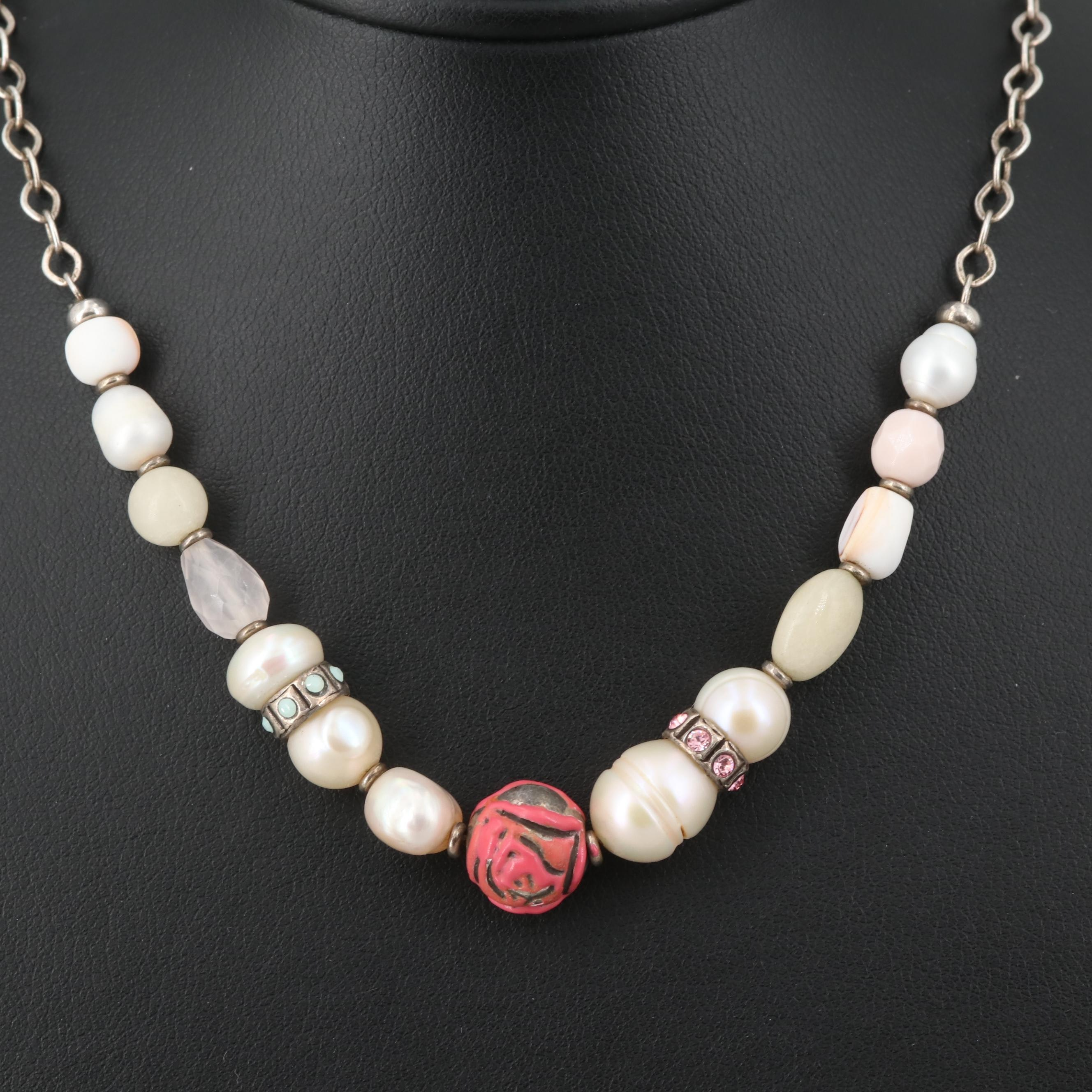 Silver Tone Cultured Pearl, Rose Quartz, and Shell Beaded Necklace