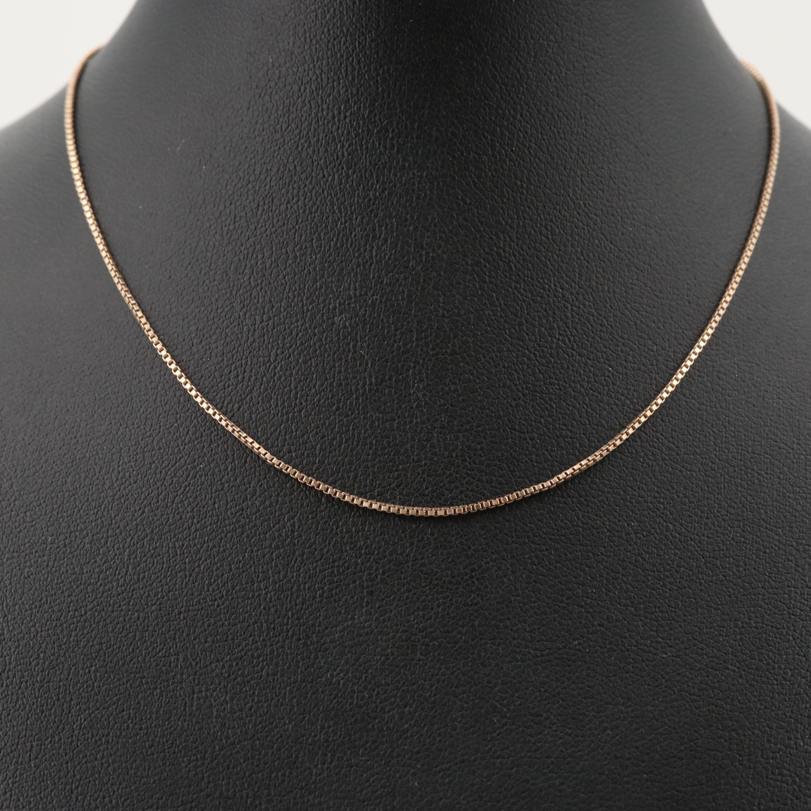 Gold Wash on Sterling Silver Box Chain Necklace