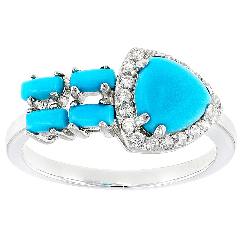 Sterling Silver Turquoise and Zircon Ring