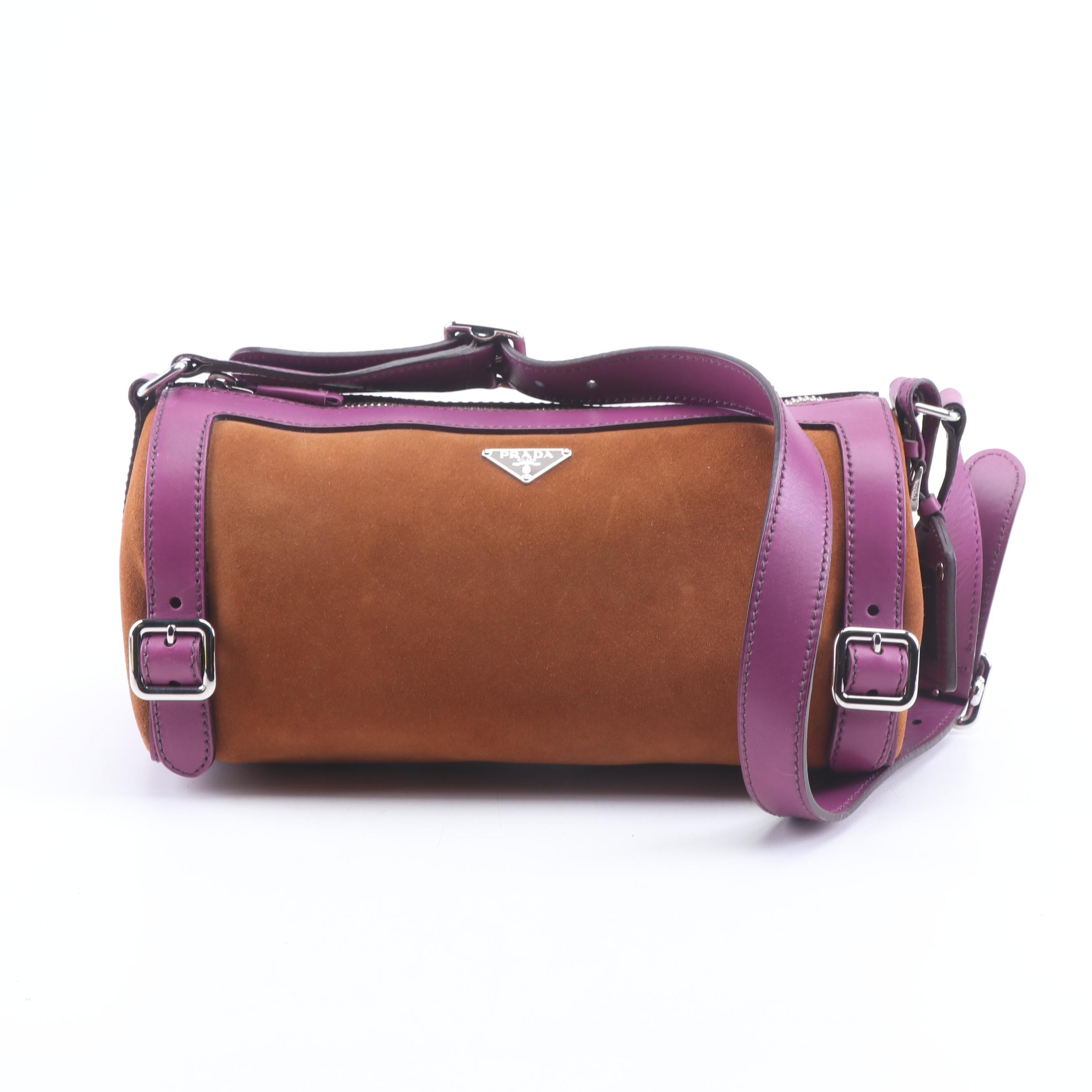Prada Mocha Suede and Violet Leather Shoulder Bag