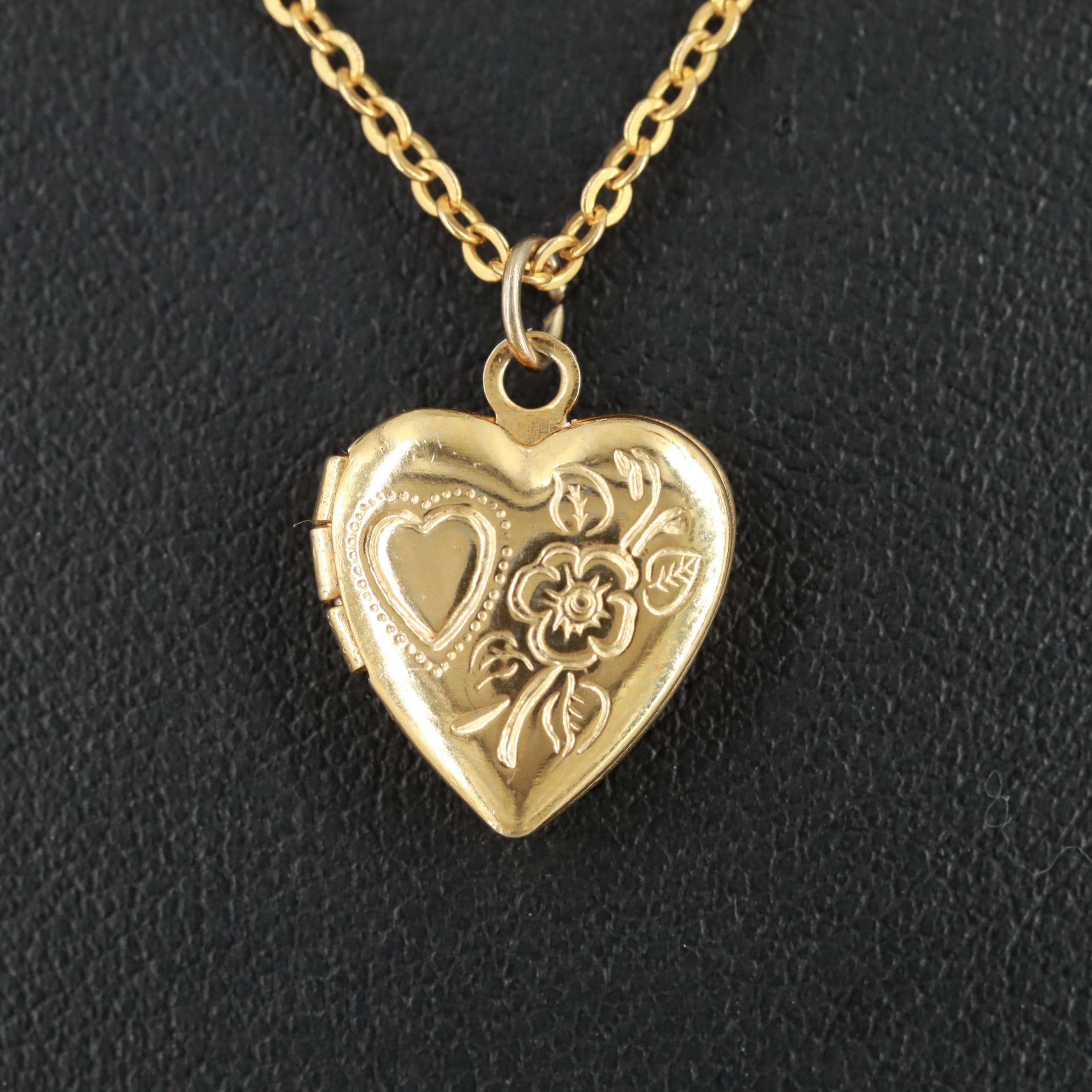 Gold Tone Heart Locket Pendant Necklace