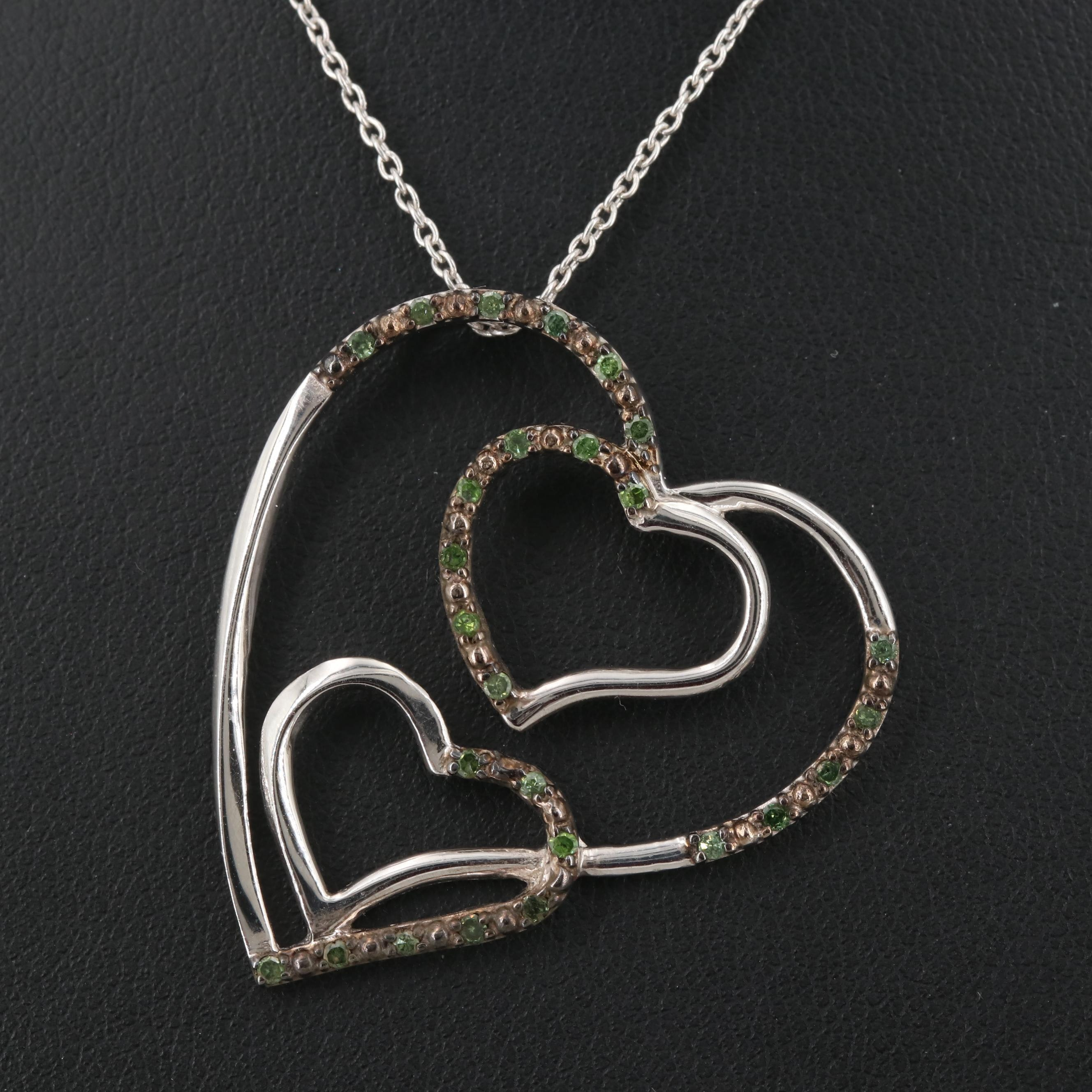 Sterling Silver Diamond Three Heart Pendant Necklace