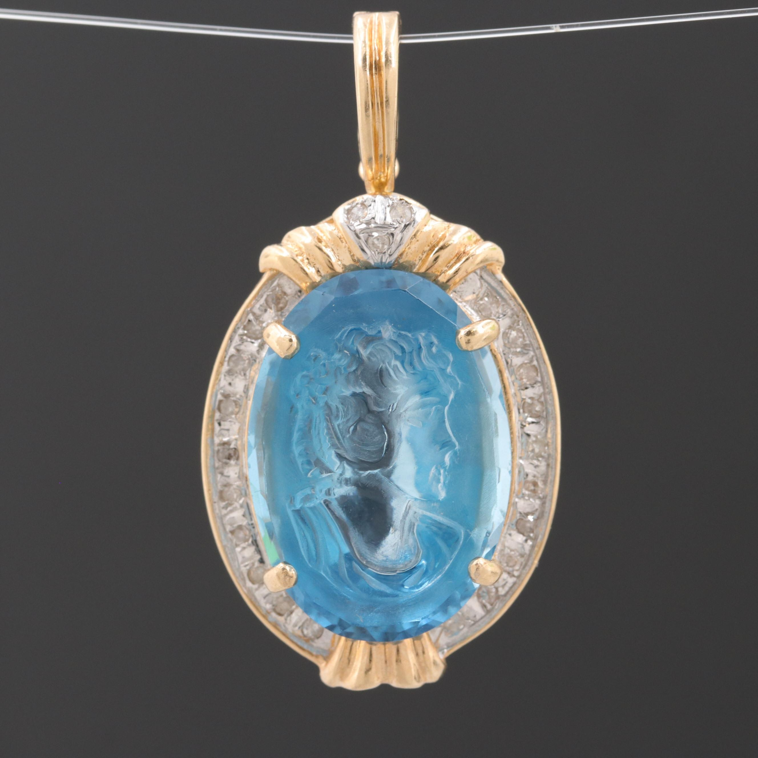 14K Yellow Gold 1.61 CTW Diamond and Blue Topaz Carved Cameo Enhancer Pendant
