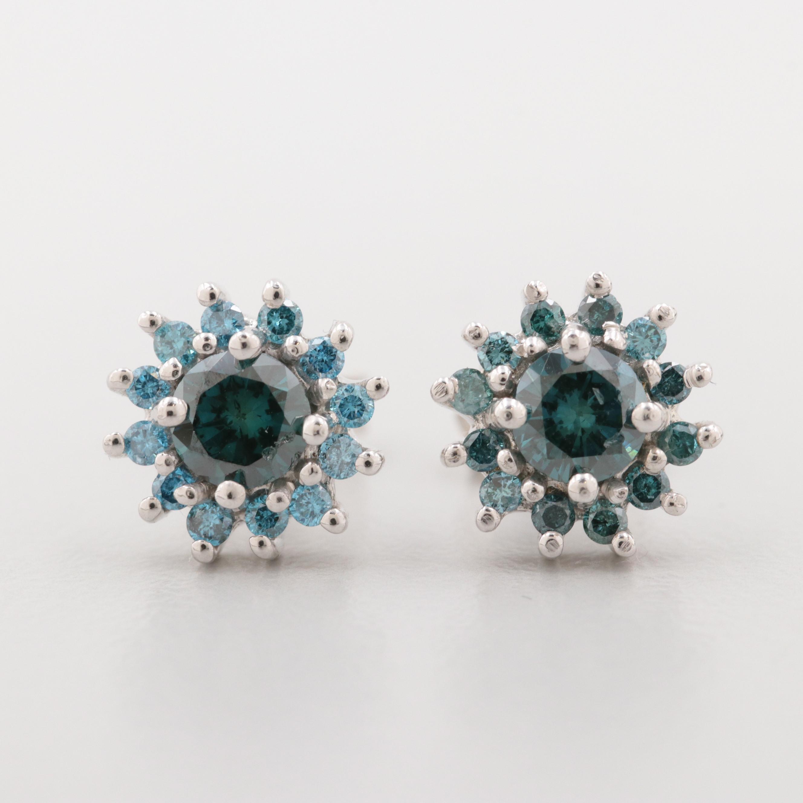 Sterling Silver Blue Diamond Stud Earrings