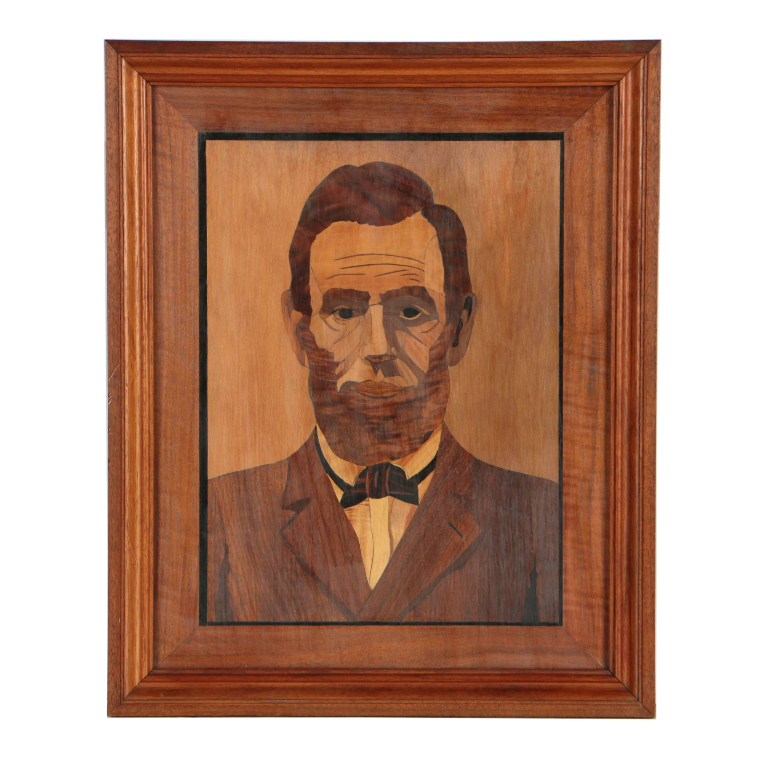 W.E. Bergquist 1942 Folk Wood Composition of Abraham Lincoln