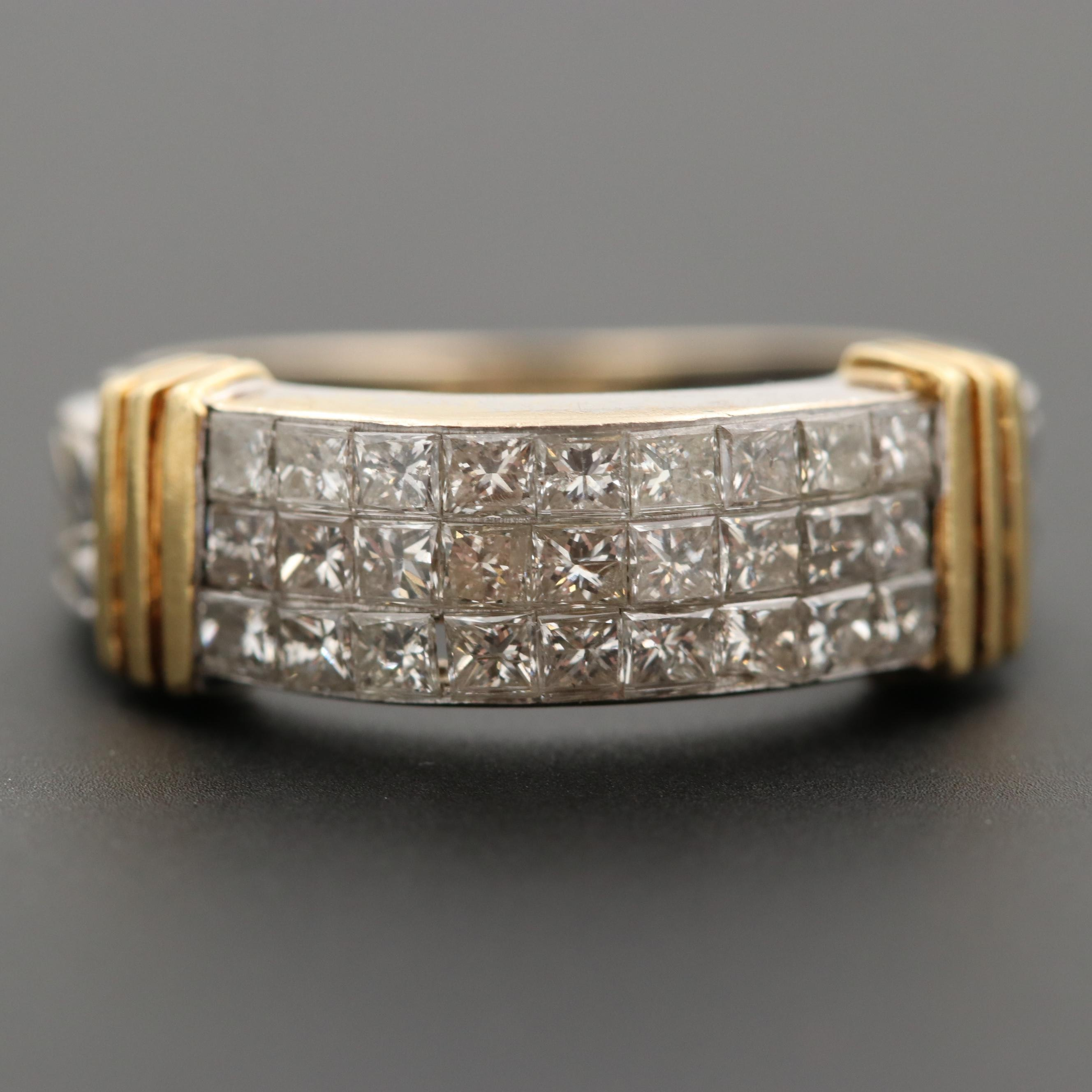18K White Gold 1.08 CTW Diamond Ring with Yellow Gold Accents
