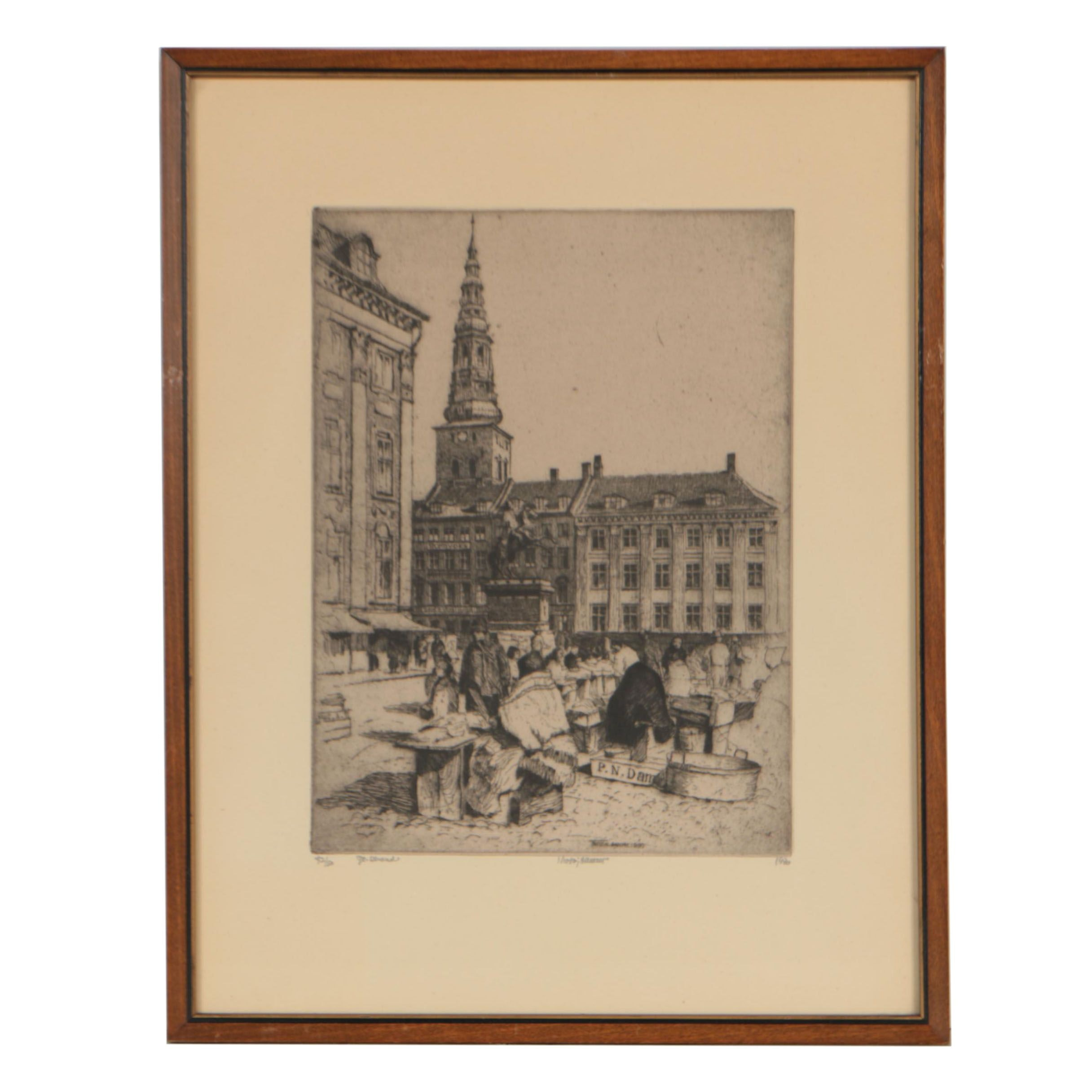 Nicolai Hammer 1930 Etching of a Town Square