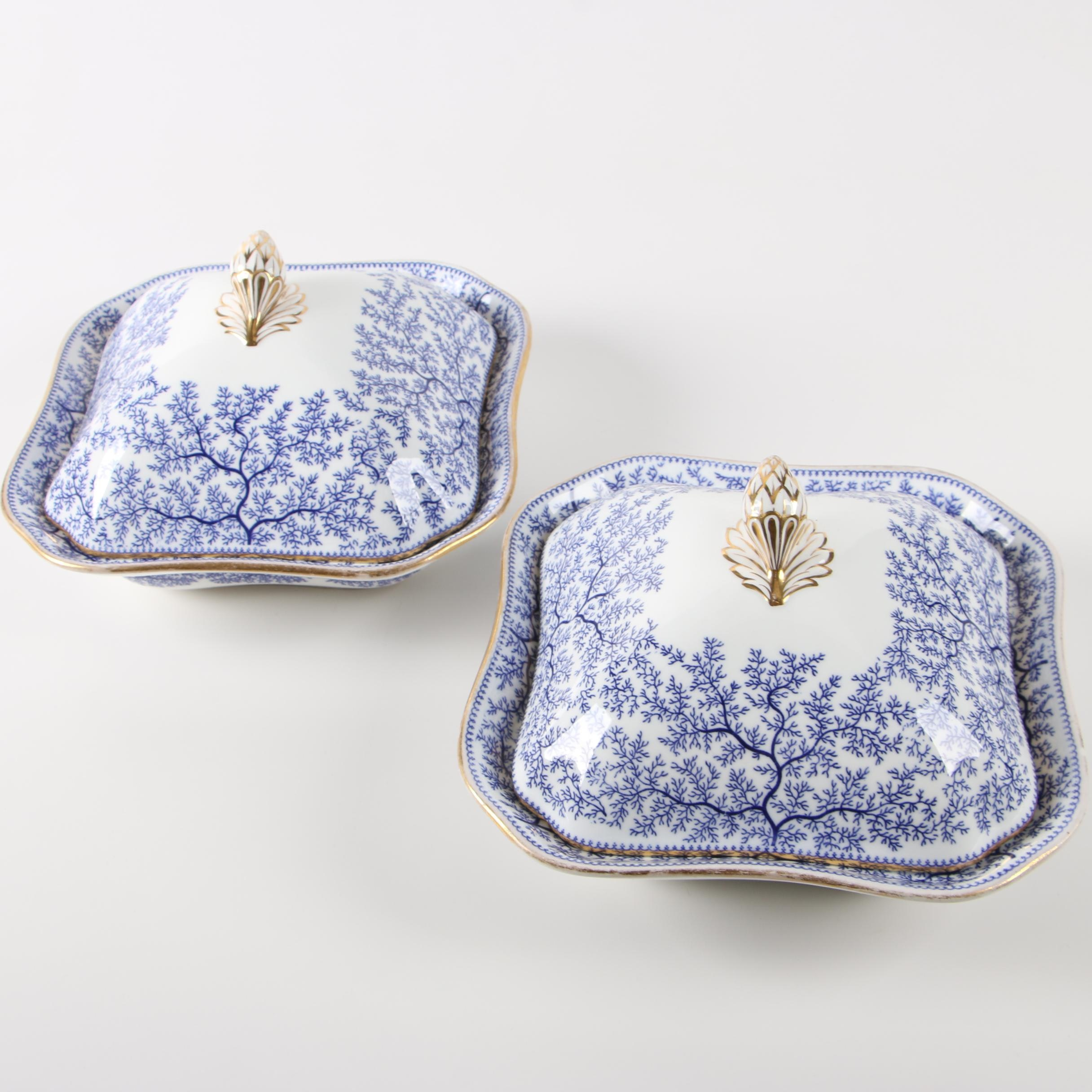 Pair of Copeland Blue and White Transferware Covered Dishes, 1851-1885