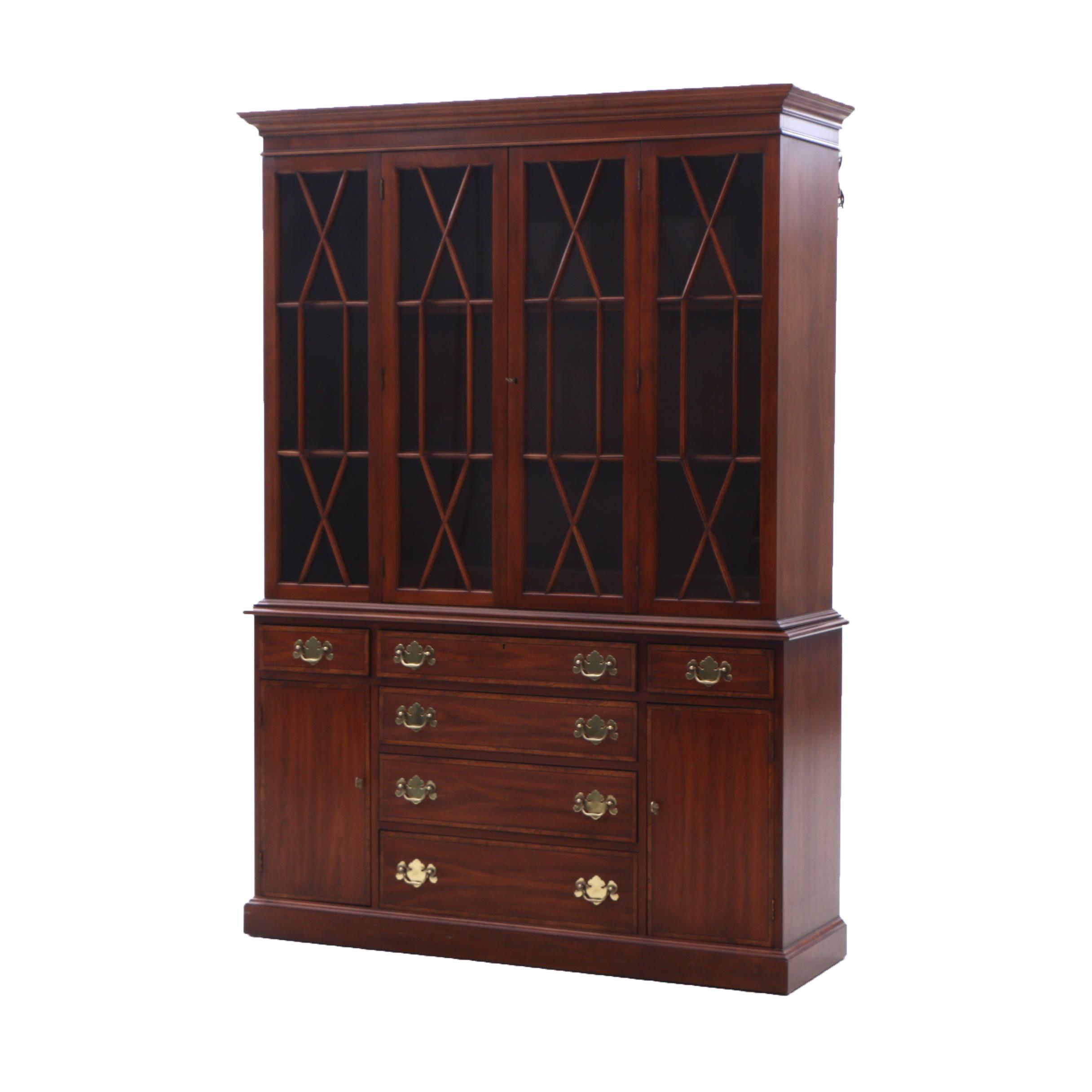 Hepplewhite Style Henkel-Harris Cherry 2-Piece China Cabinet