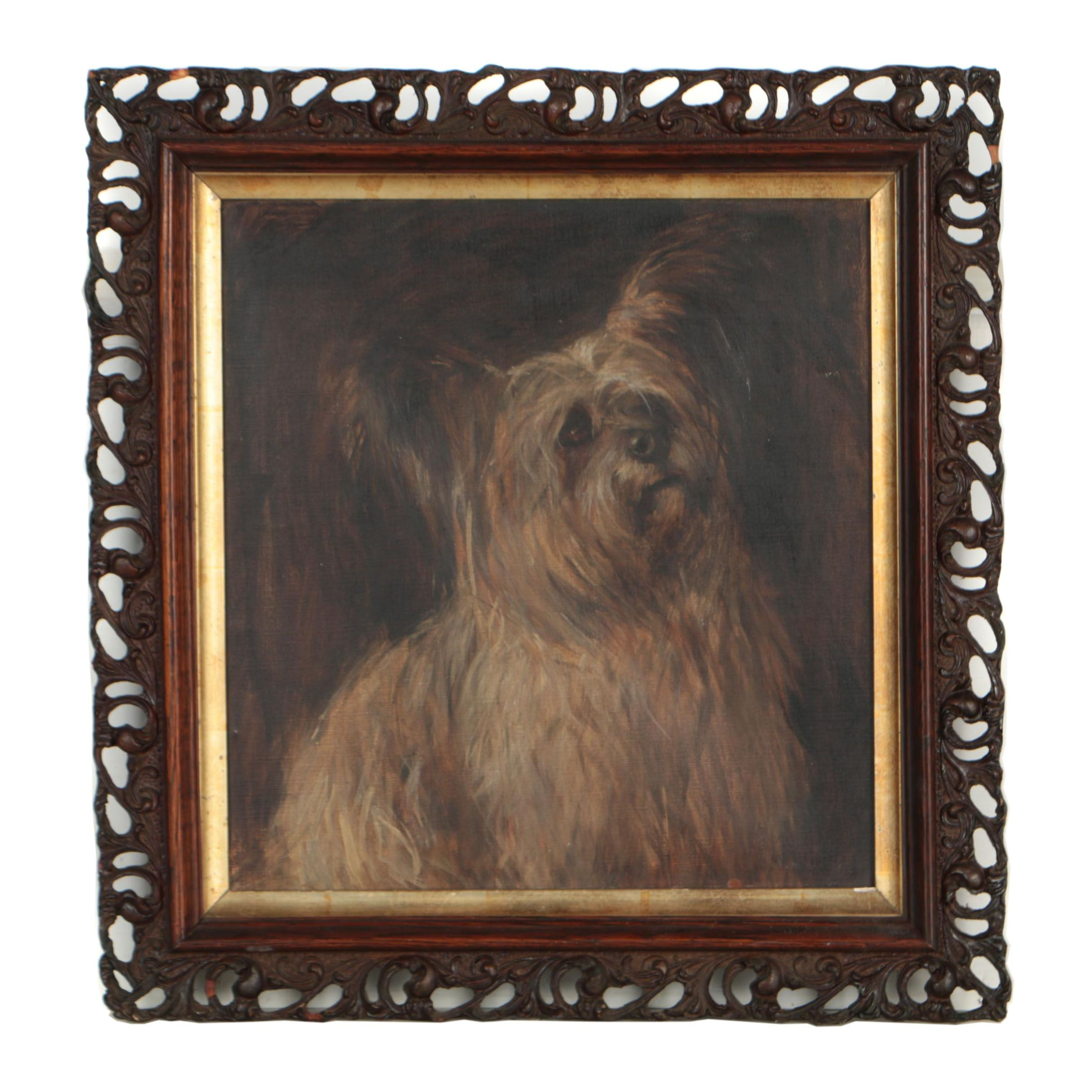 "Late 19th Century Oil Painting ""The Staye Terrier"""