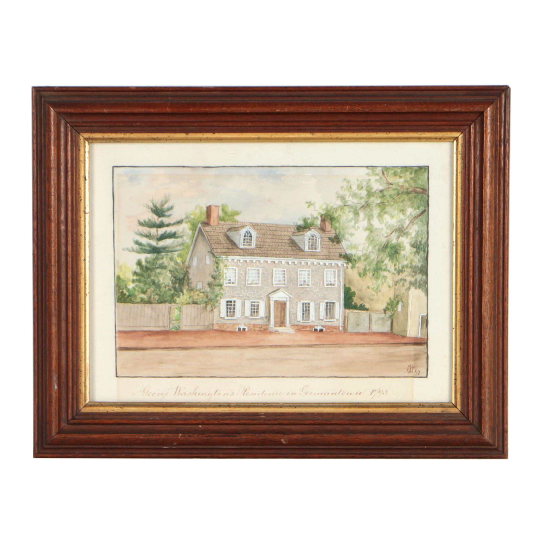 "Late 19th Century Mixed Media Painting ""George Washington's Residence..."""