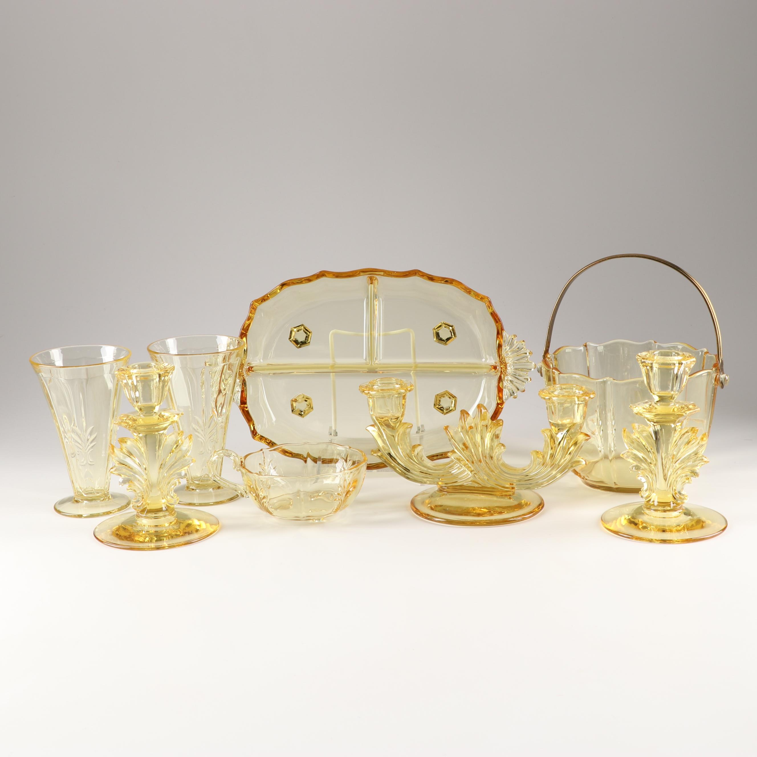 "Fostoria ""Baroque Topaz"" Depression Era Tableware"