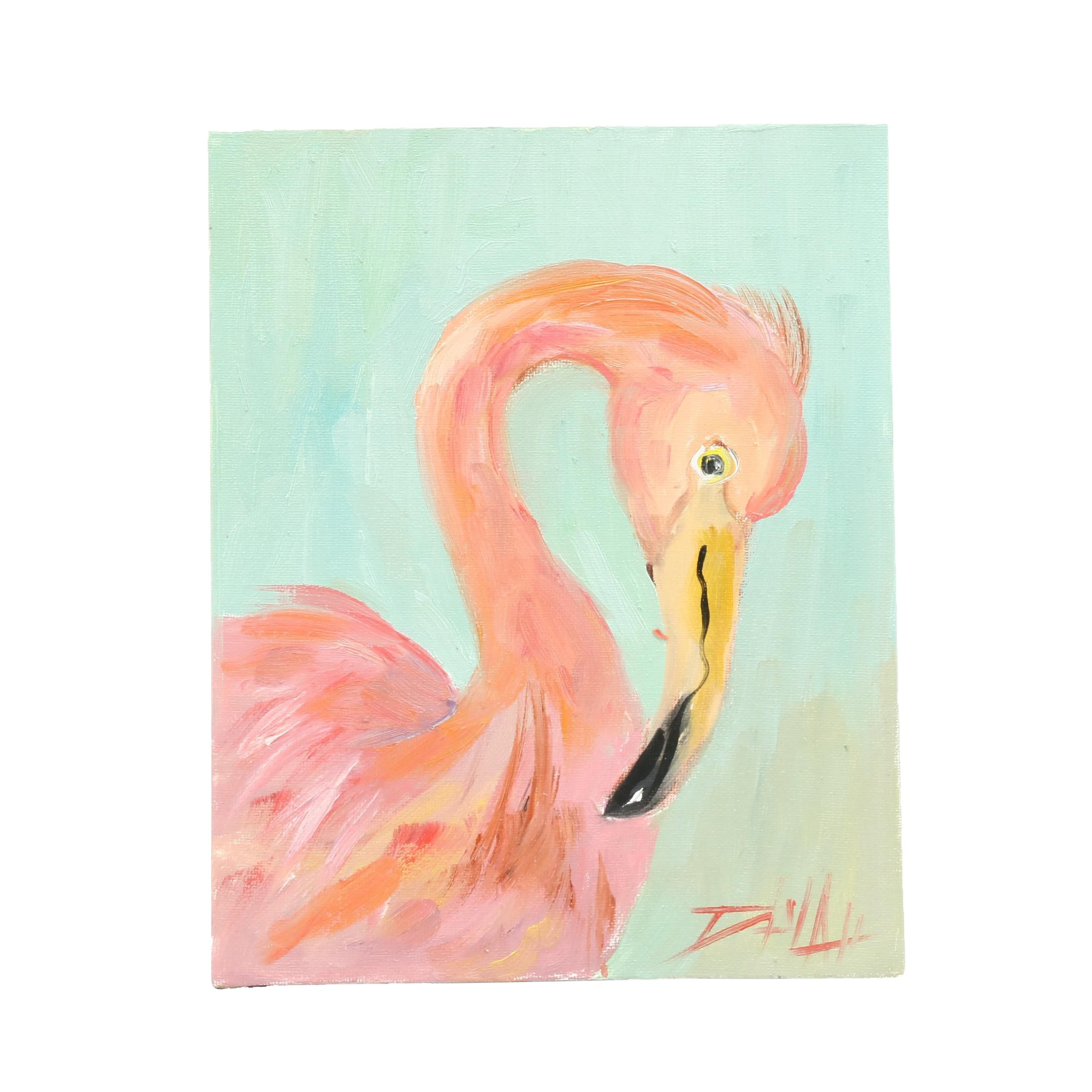 "Delilah Smith Oil Painting ""Flamingo No. 23"""