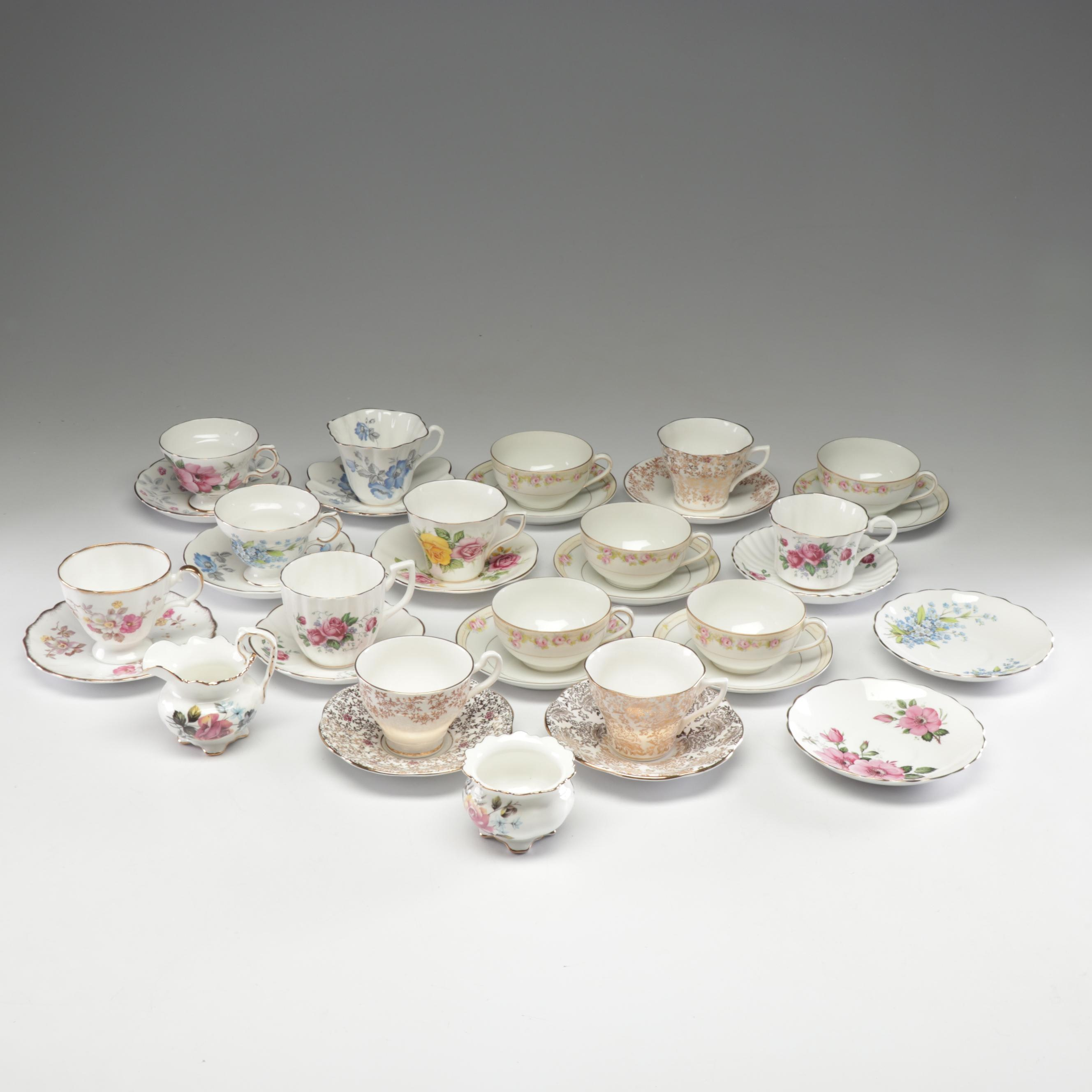 English and Japanese Bone China Teacups and Saucers