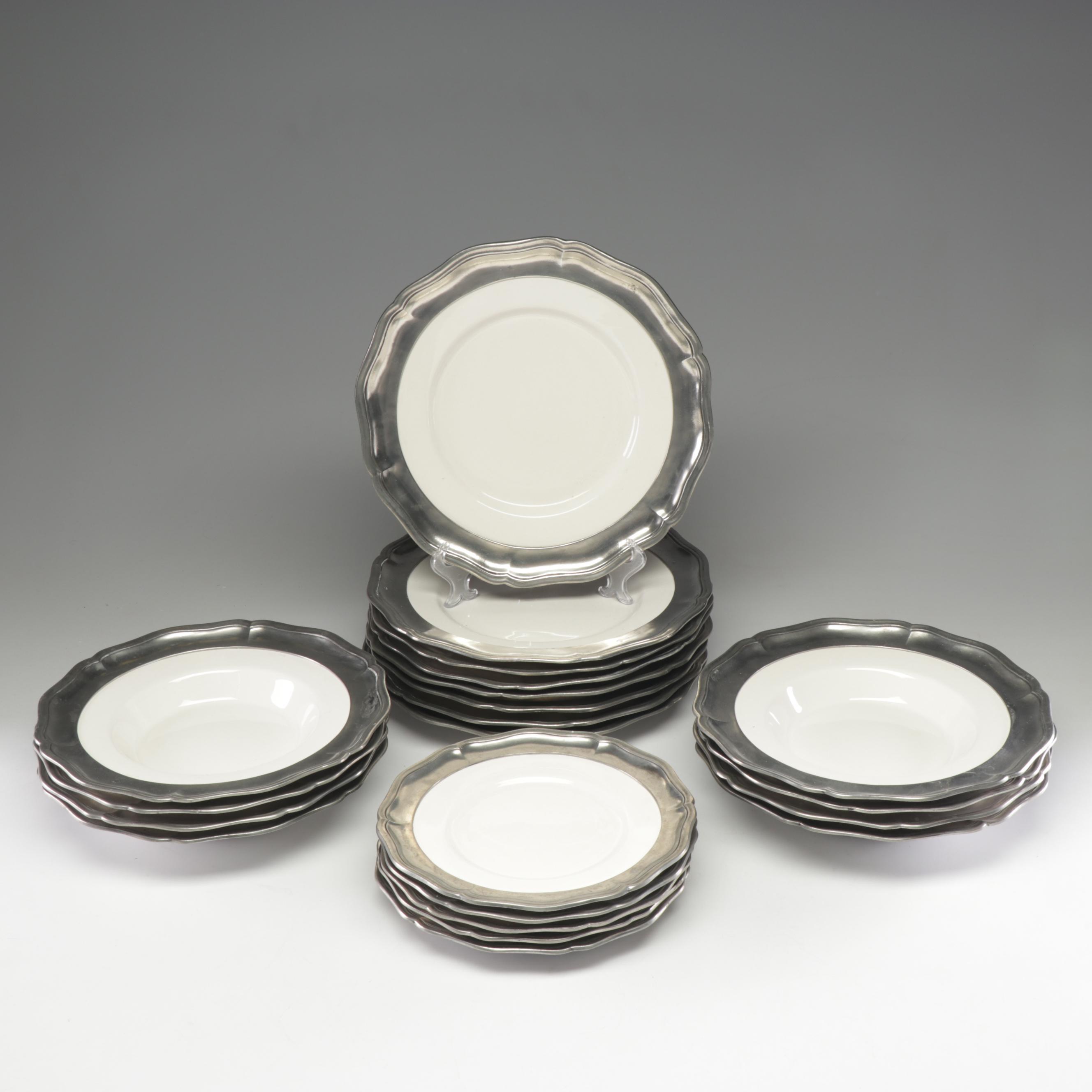 Arte Italica Dinnerware with Marinoni Pewter Rims