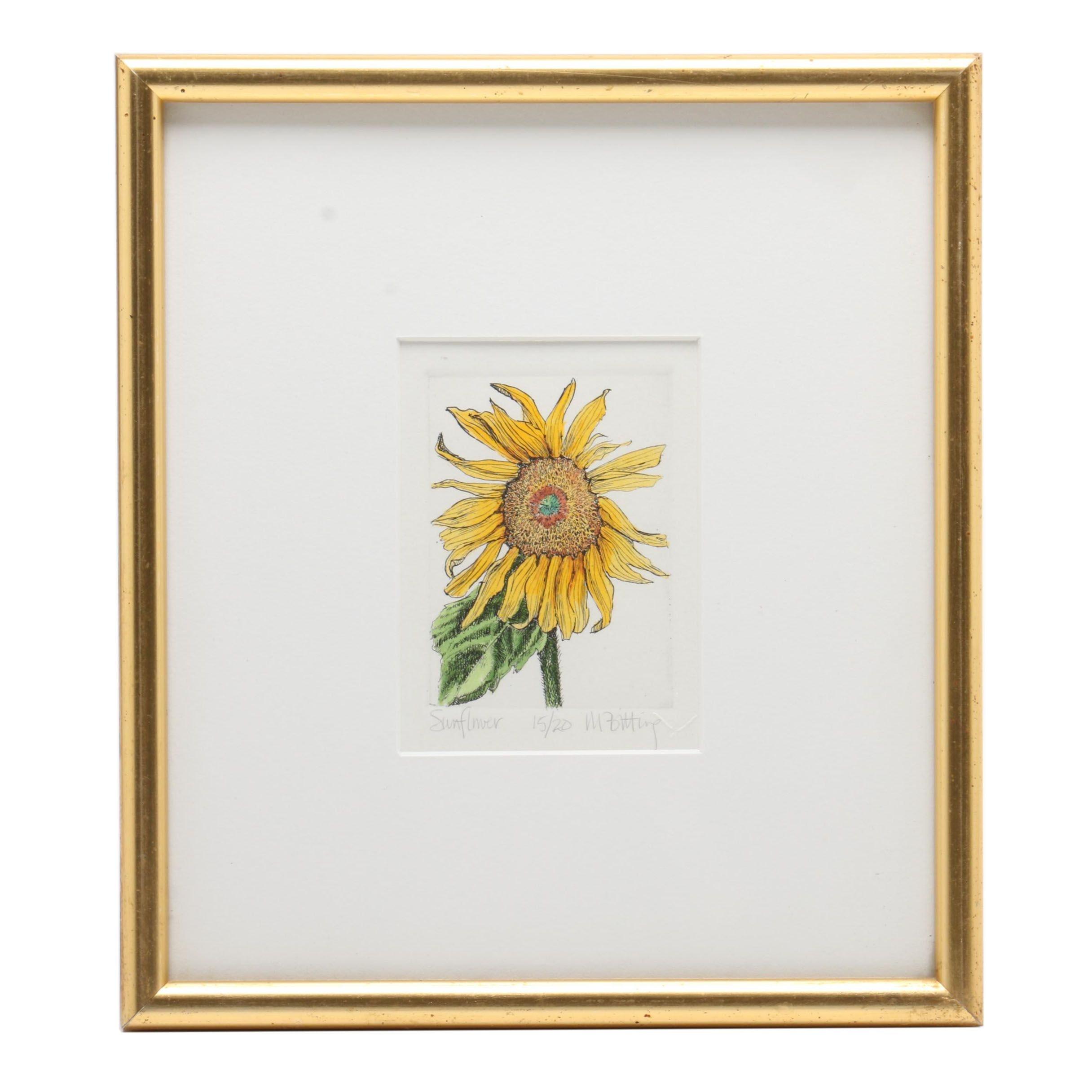 "Melinda Johns Bitting Hand-Colored Etching ""Sunflower"""