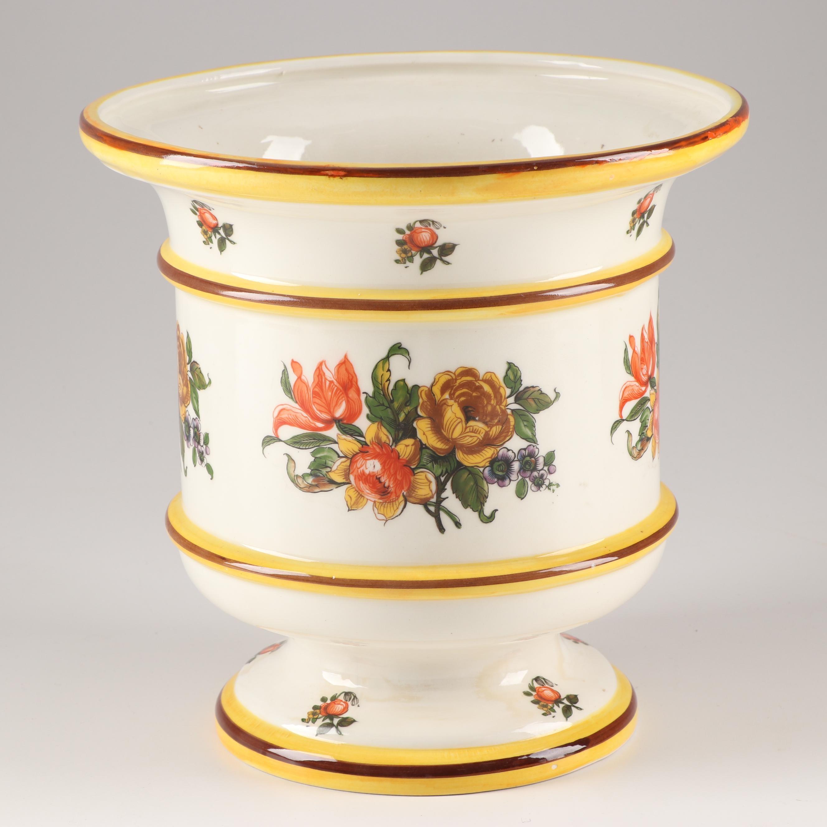 Hand-Painted Italian Ceramic Jardiniere