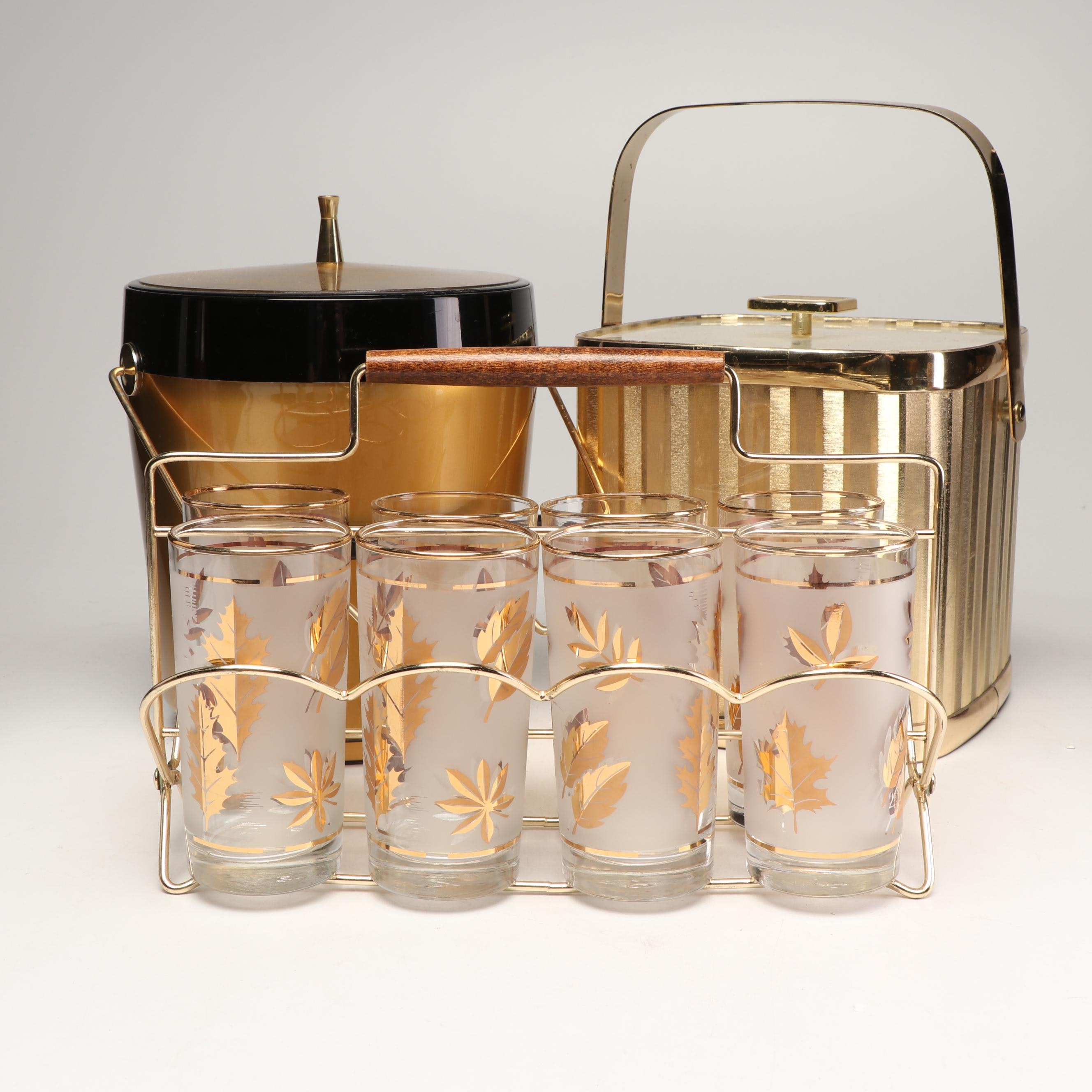 "Libbey ""Golden Foliage"" Tumblers with Gold Toned Ice Buckets, 1950s-1970s"