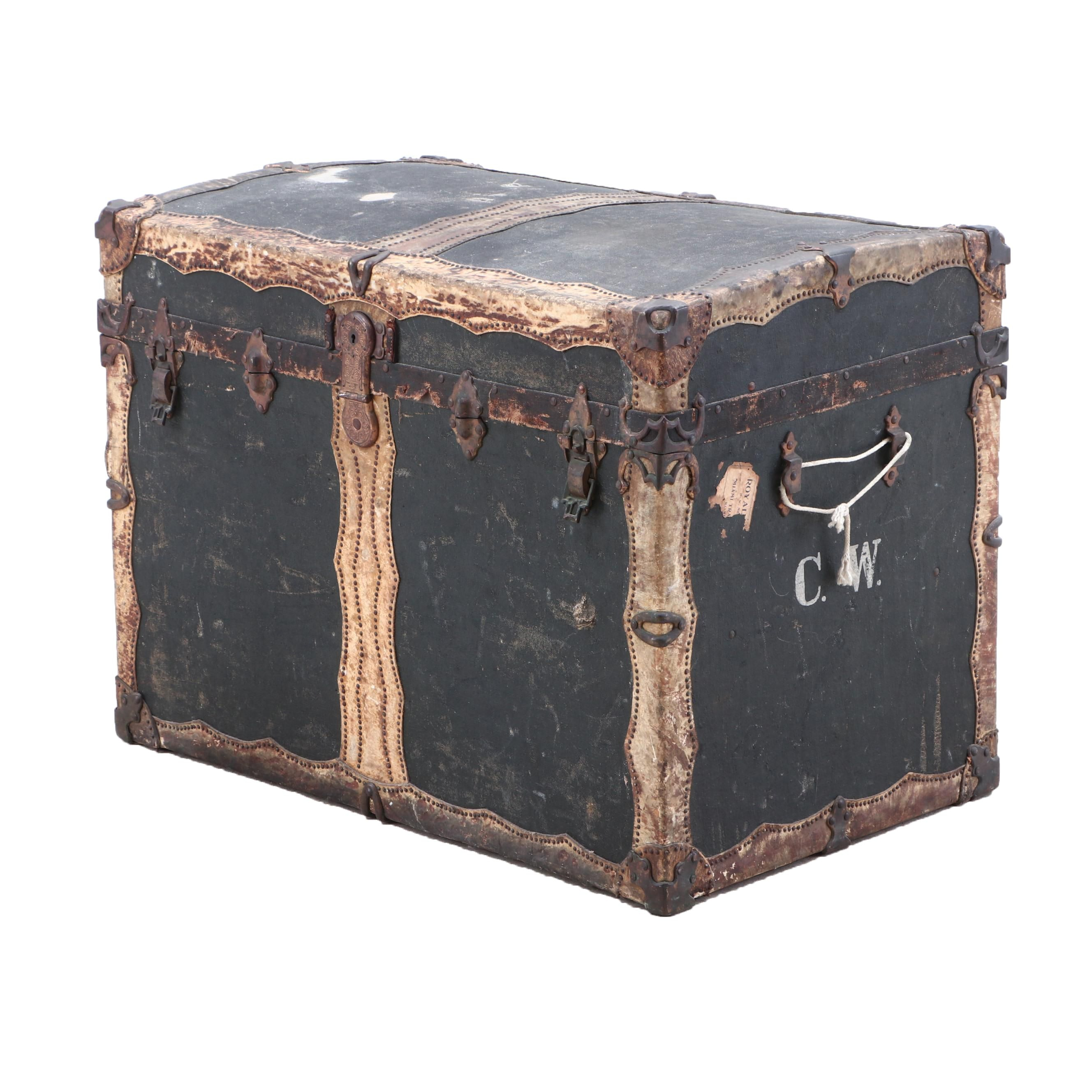 Drucker and Company Ebonized Wood and Buffalo Rawhide Trunk, Late 19th Century