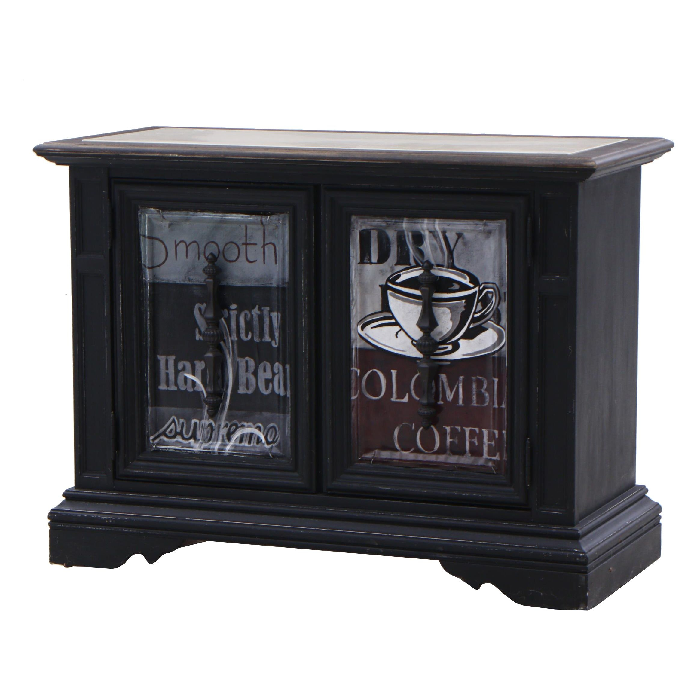 Rolling Coffee Themed Cabinet, Contemporary