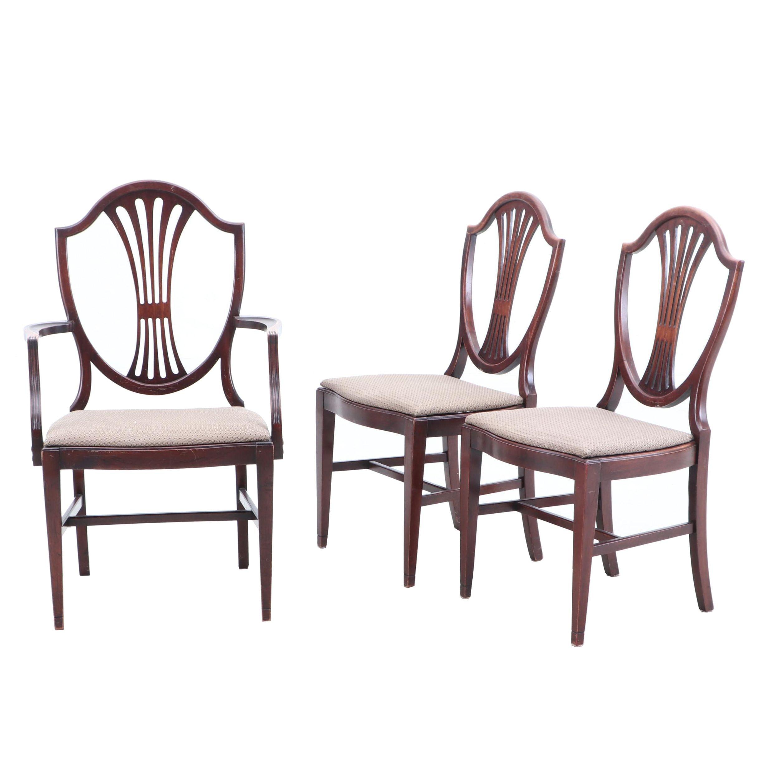 Sheraton Shieldback Style Mahogany Side Chairs, Late 20th Century