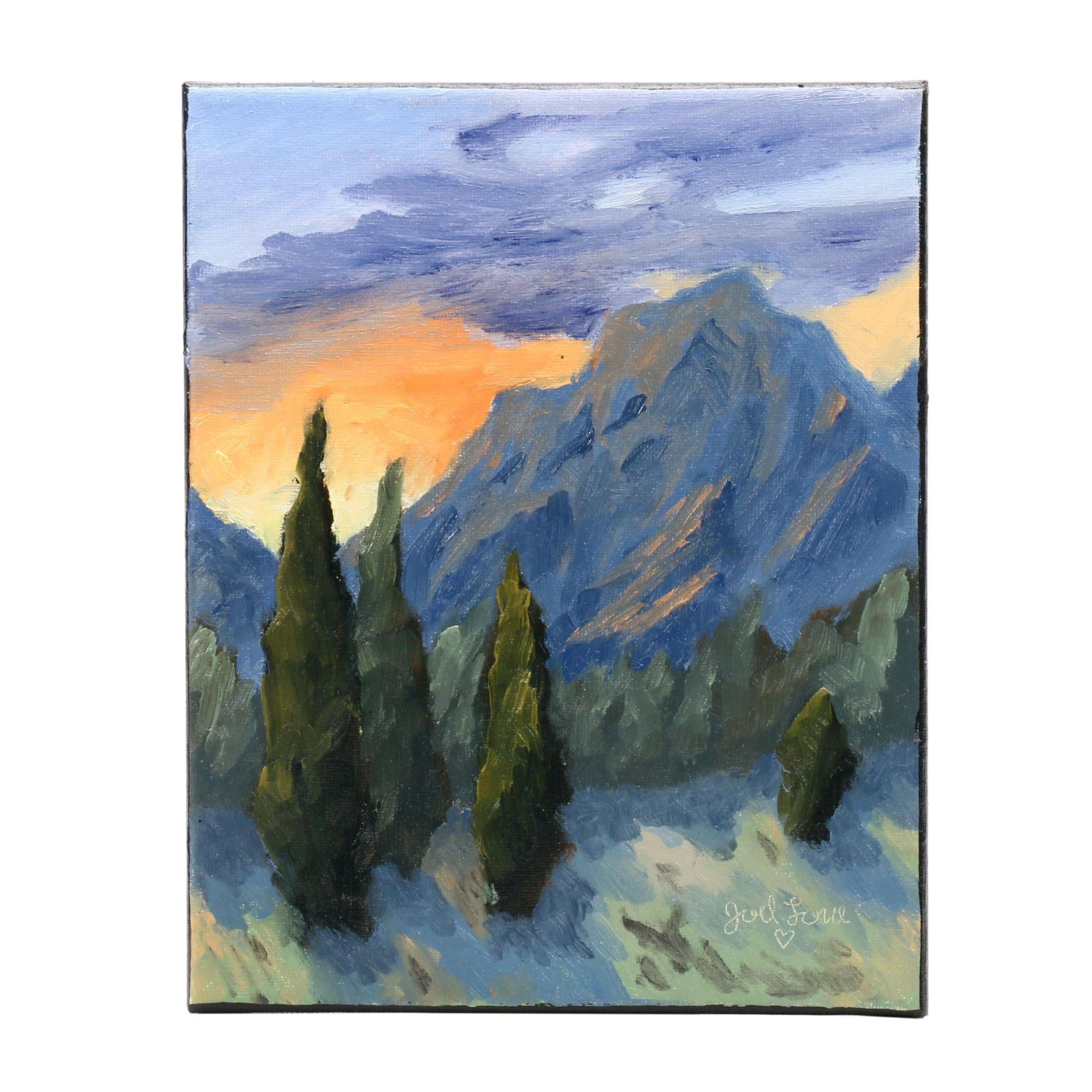 "Joel Love Landscape Oil Painting ""Sky Glaze"""