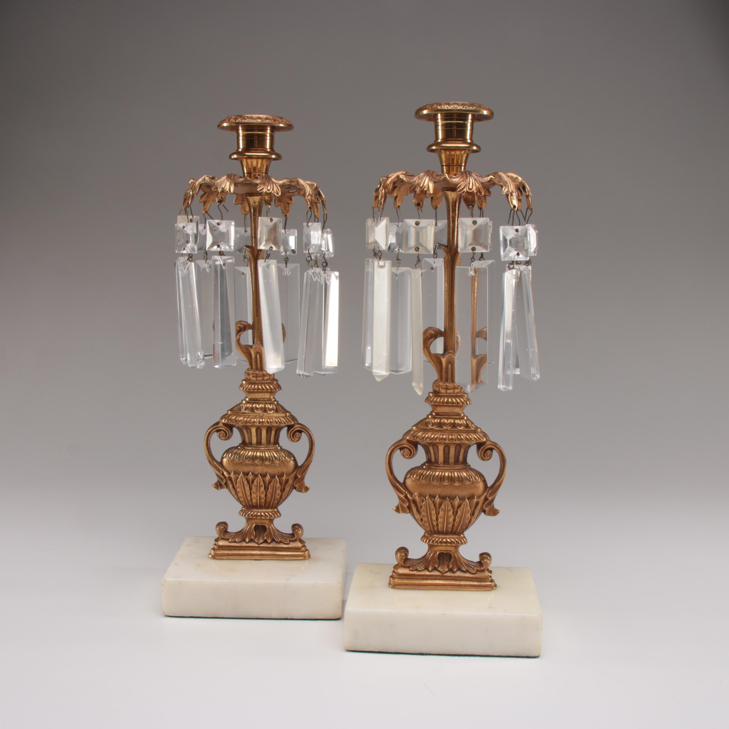 Pair of Neoclassical Gilt Metal and Marble Candlesticks with Cut Glass Lusters