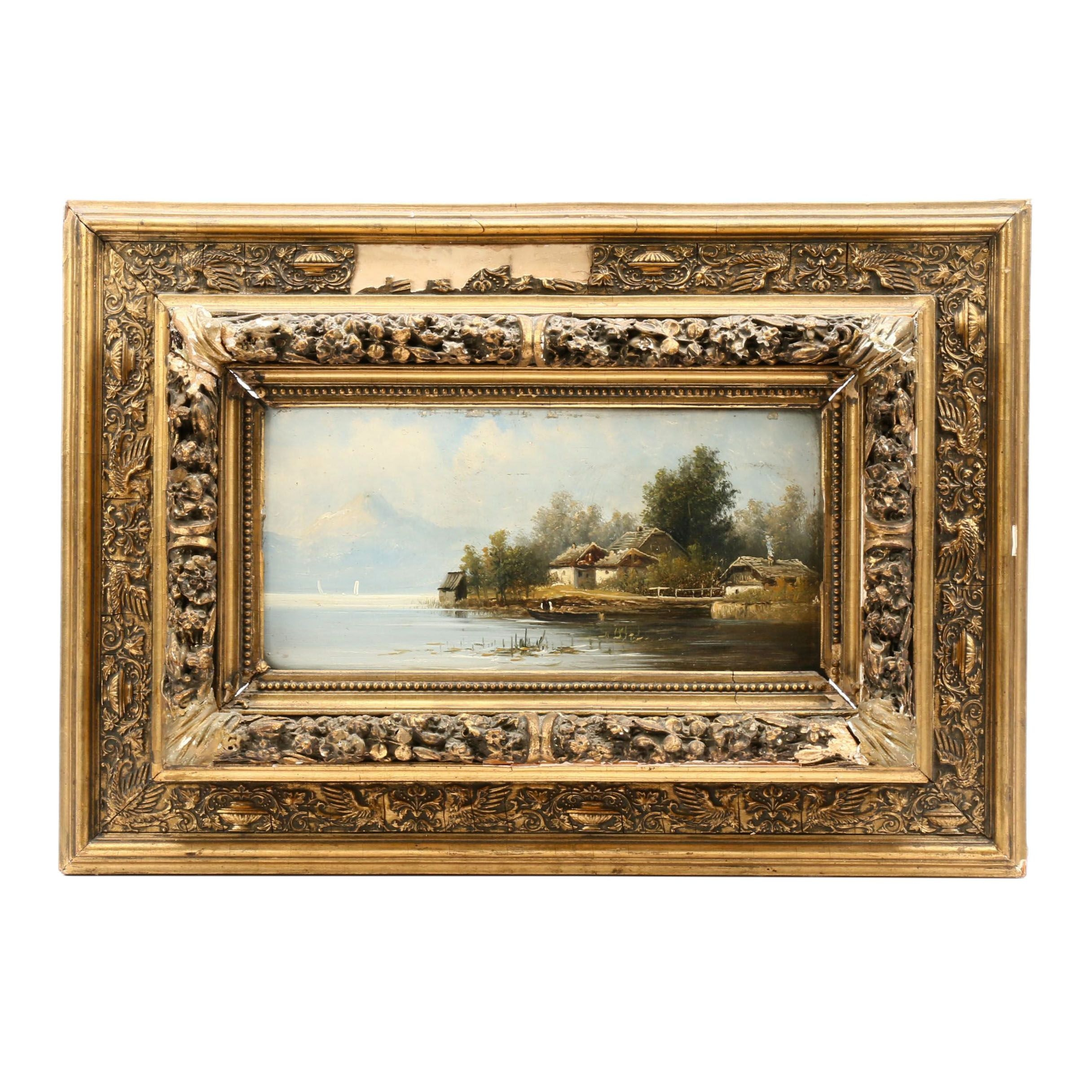 Late 19th Century Continental Landscape Oil Painting
