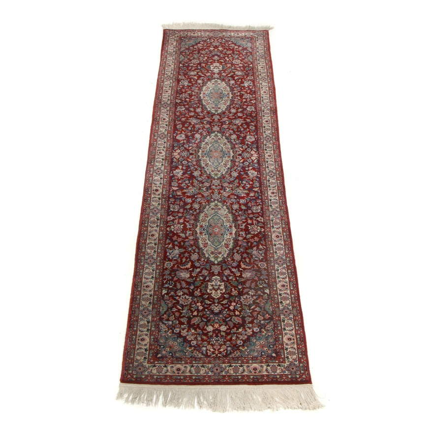 Hand-Knotted Indo-Persian Kerman Wool Carpet Runner