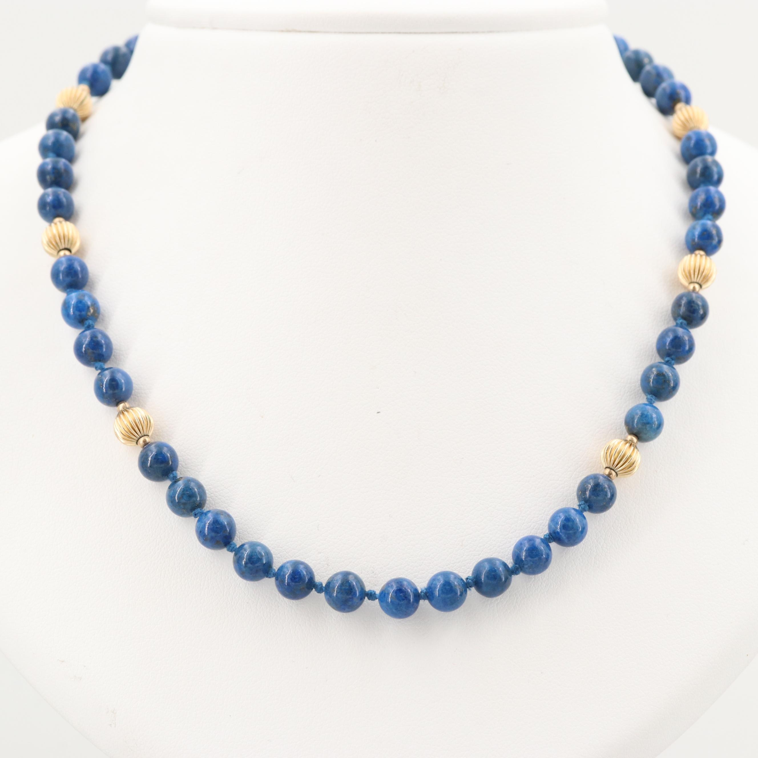 Lapis Lazuli Beaded Necklace with Gold Tone Station Beads