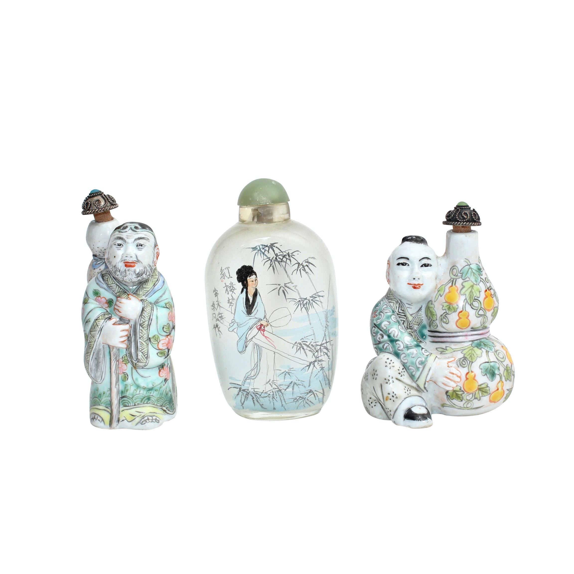 Vintage Chinese Glass and Porcelain Snuff Bottles