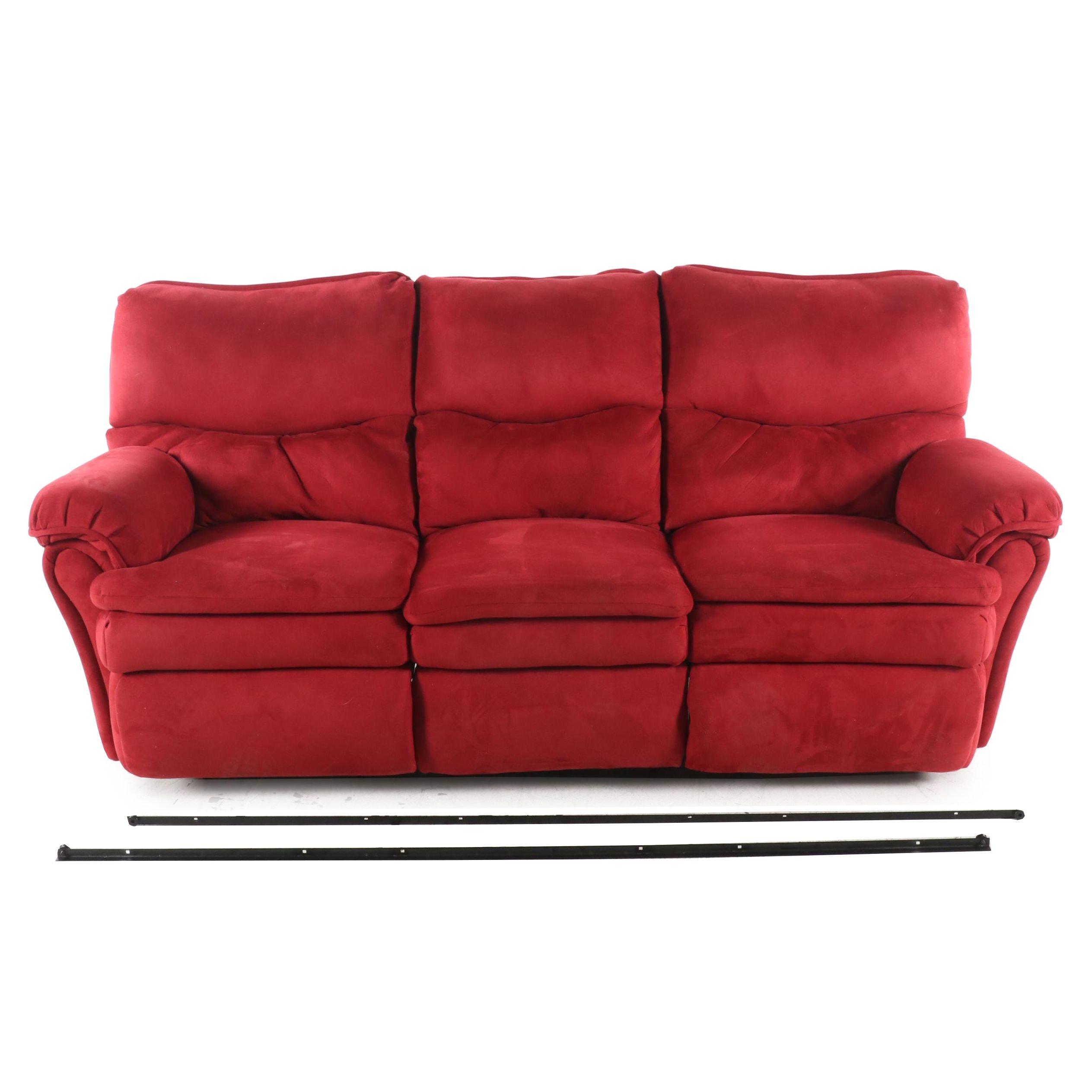 Contemporary Microfiber Three Section Recliner Sofa
