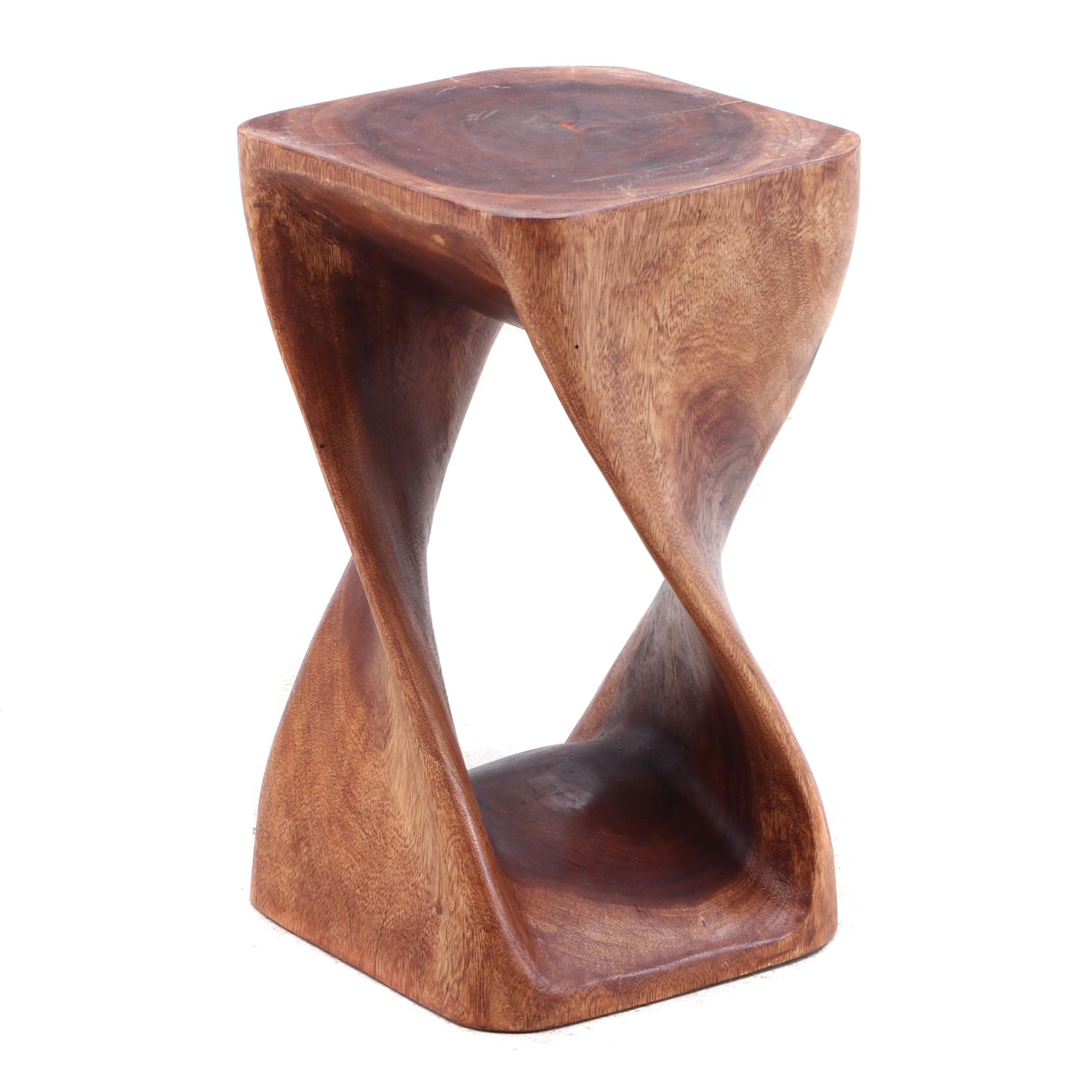 Modernist Carved Walnut Stool, Contemporary