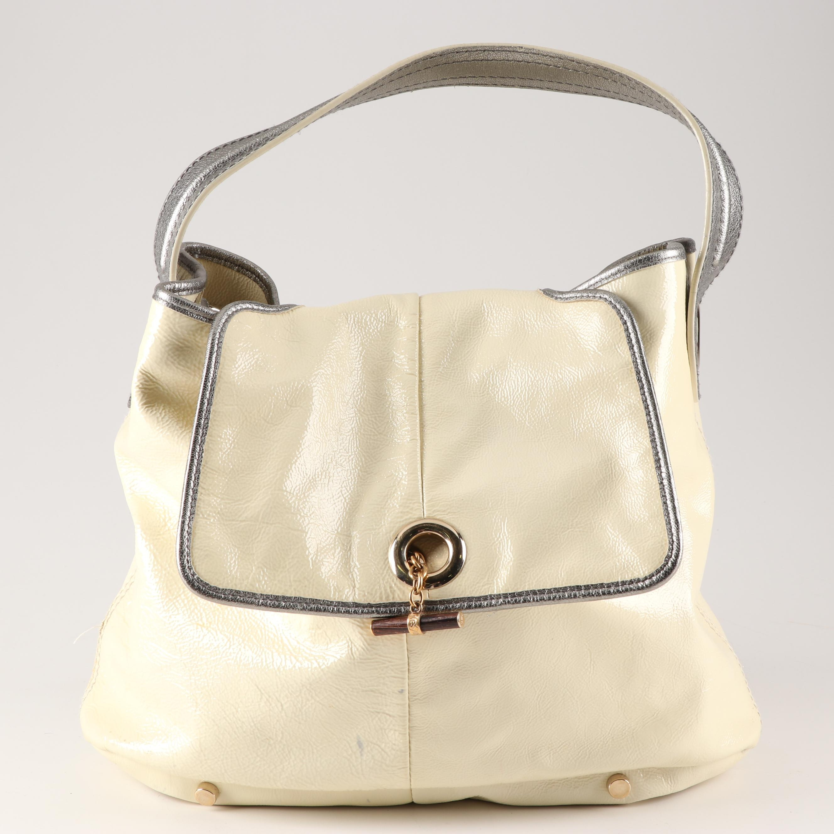 Yves Saint Laurent Ivory Patent Leather Hobo Handbag Trimmed in Silver Metallic